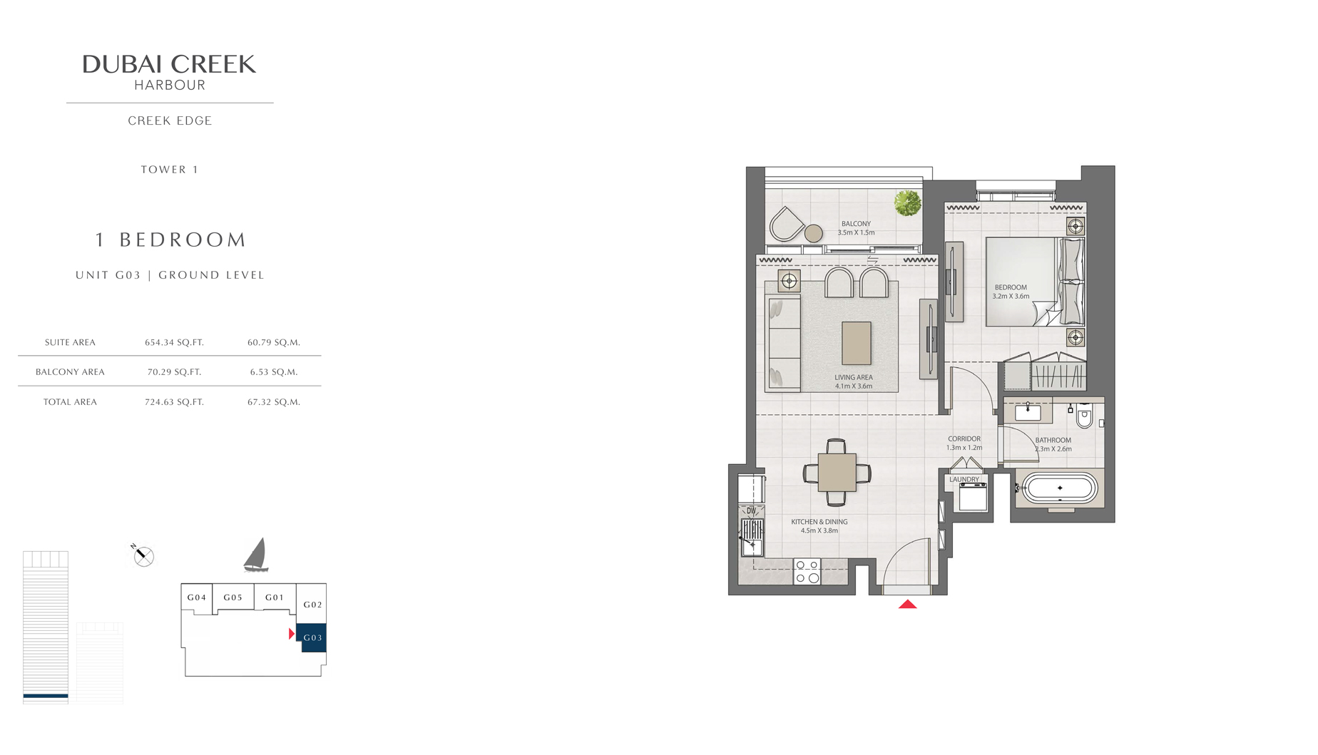 1 Bedroom Tower 1 Unit G03 GL  Size 724 sq.ft