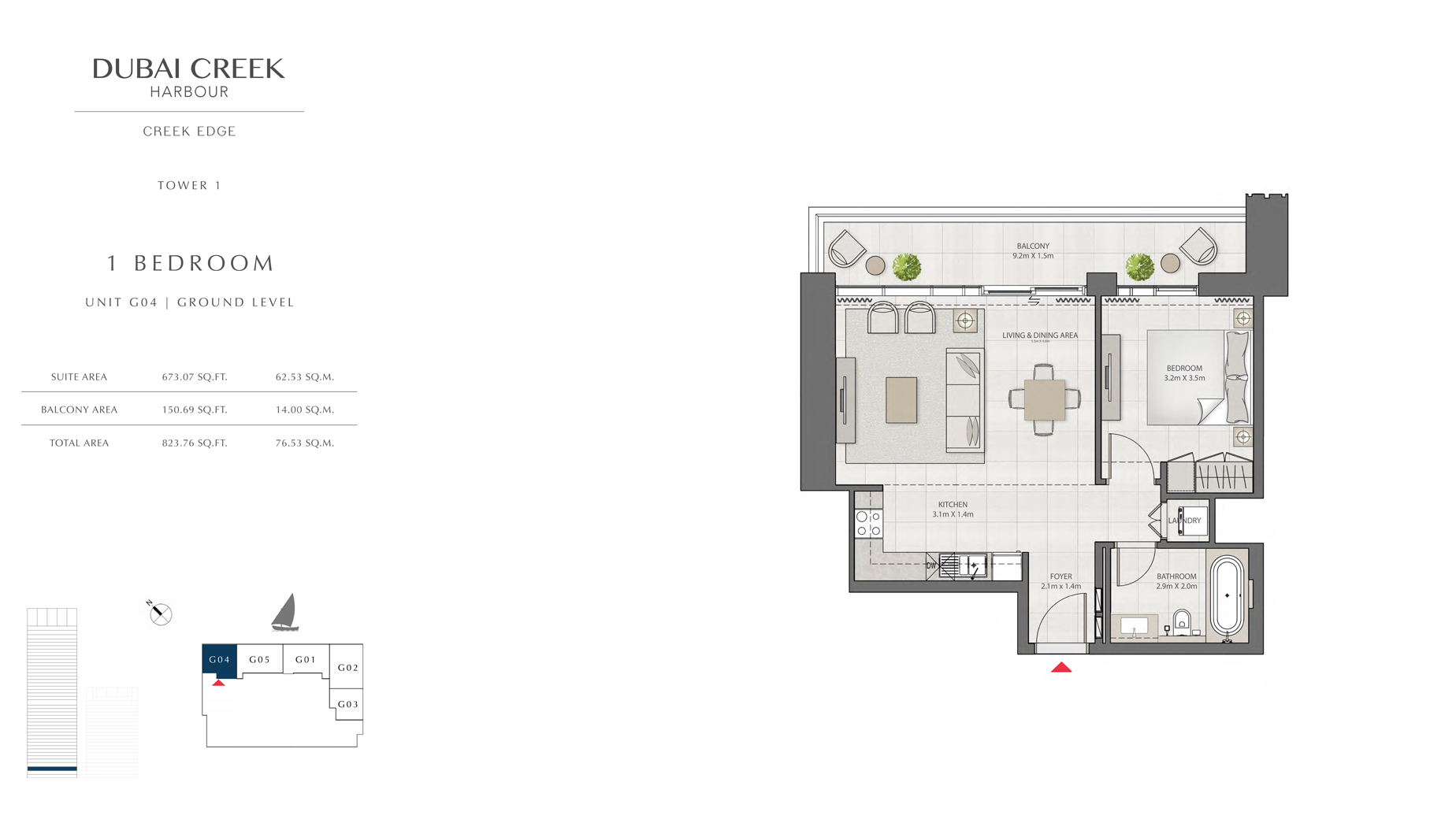 1 Bedroom Tower 1 Unit G04_GL 823 sq.ft