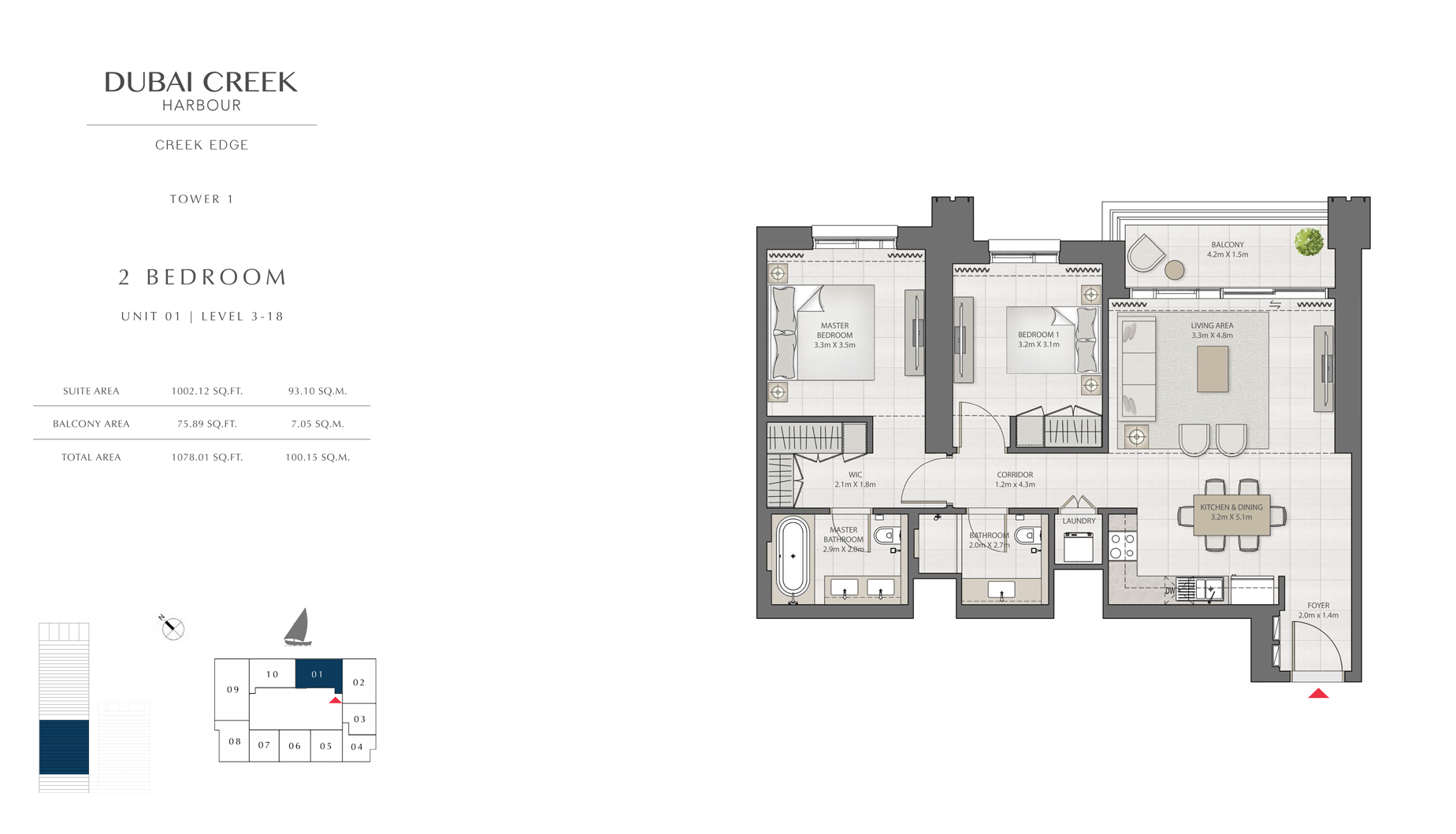 2 Bedroom Tower 1 Unit 01 Level 3-18  Size 1078 sq.ft