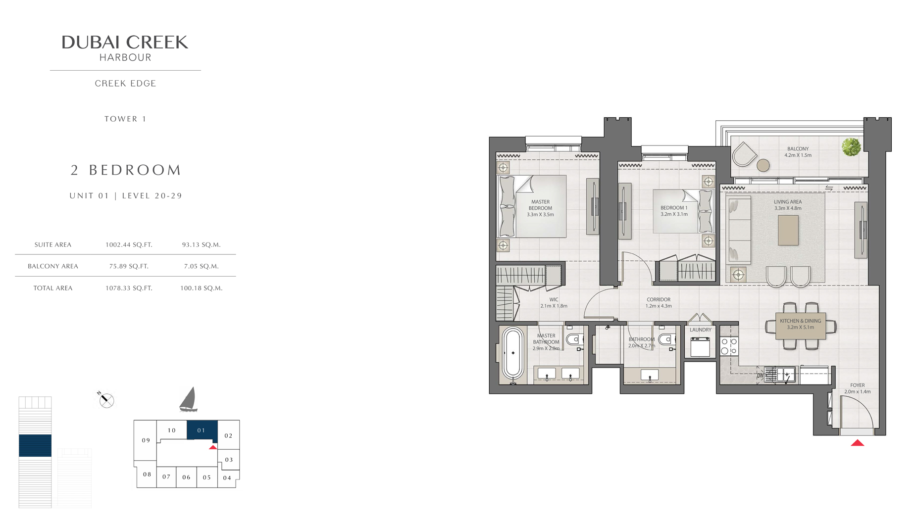 2 Bedroom Tower 1 Unit 01 Level 20-29  Size 1078 sq.ft