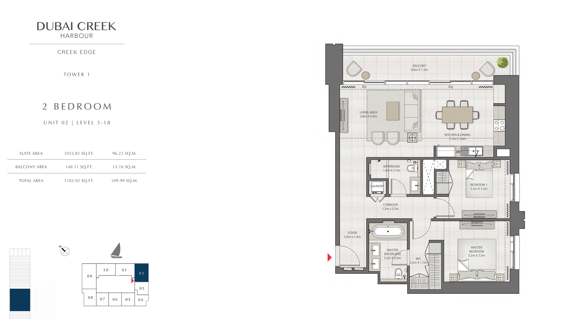 2 Bedroom Tower 1 Unit 02 Level 3-18  Size 1183 sq.ft