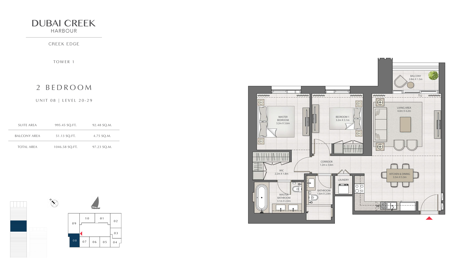 2 Bedroom Tower 1 Unit 08 Level 20-29  Size 1046 sq.ft