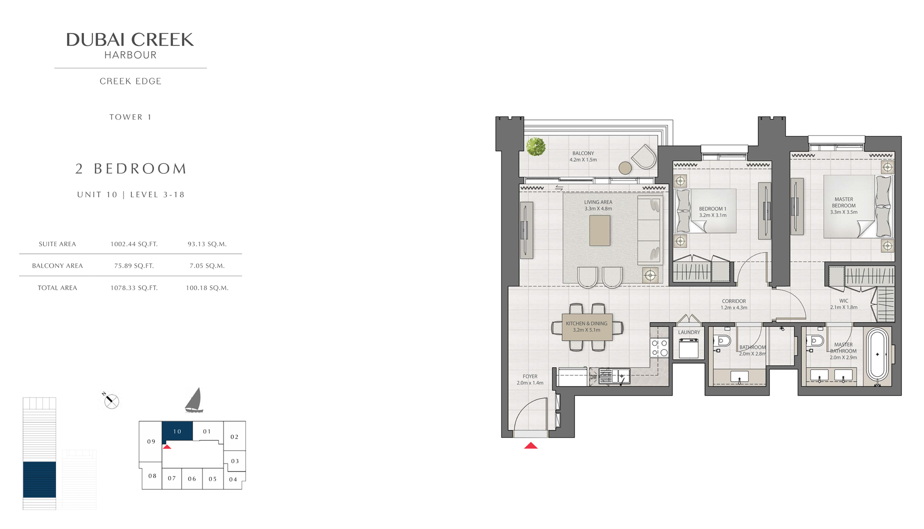 2 Bedroom Tower 1 Unit 10 Level 3-18  Size 1078 sq.ft