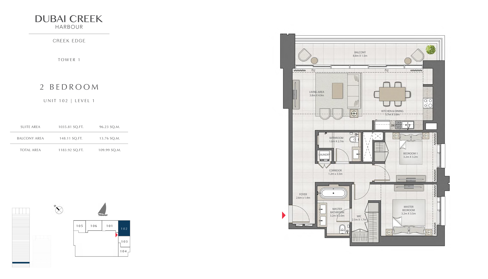 2 Bedroom Tower 1 Unit 102 Level 1 Size 1183 sq.ft