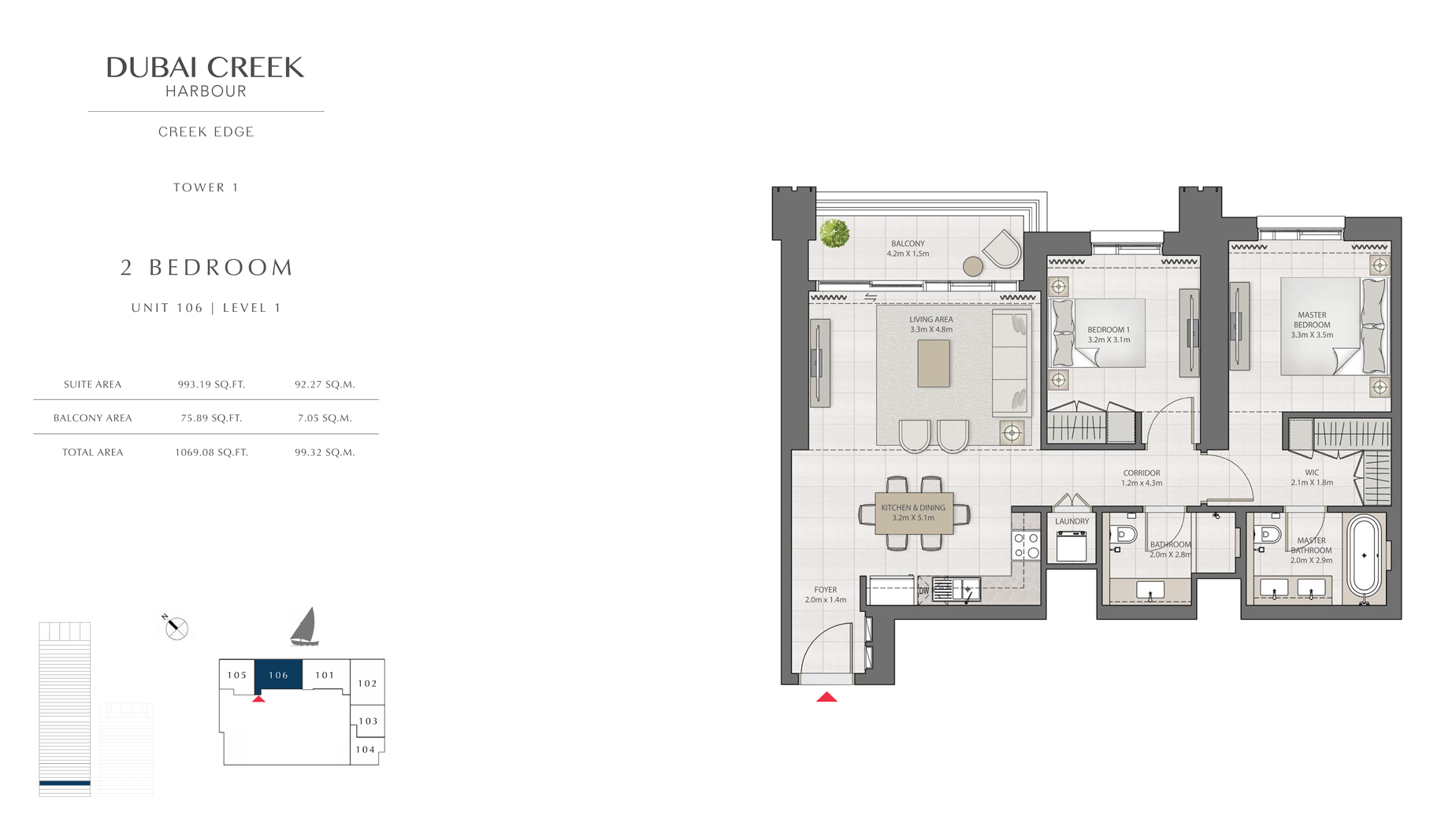 2 Bedroom Tower 1 Unit 106 Level 1 Size 1069 sq.ft