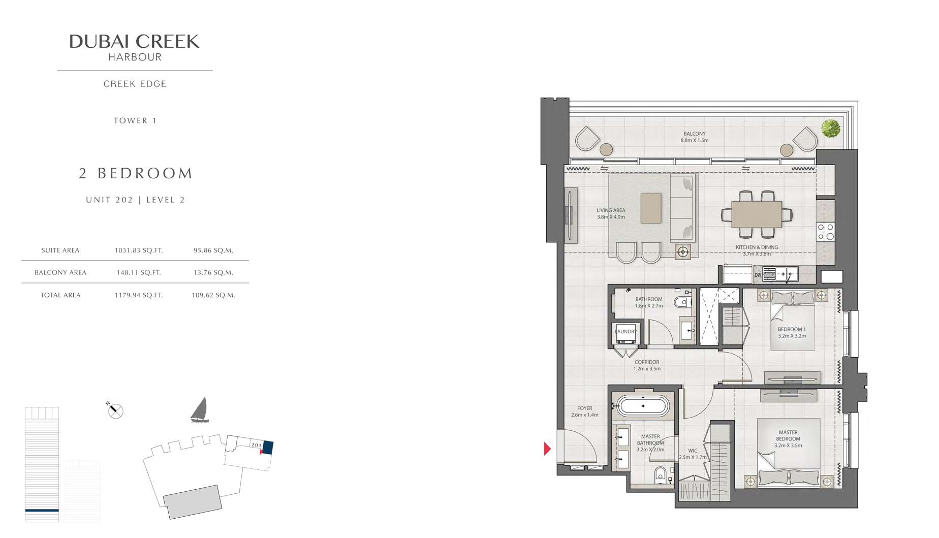2 Bedroom Tower 1 Unit 202 Level 2 Size 1179 sq.ft