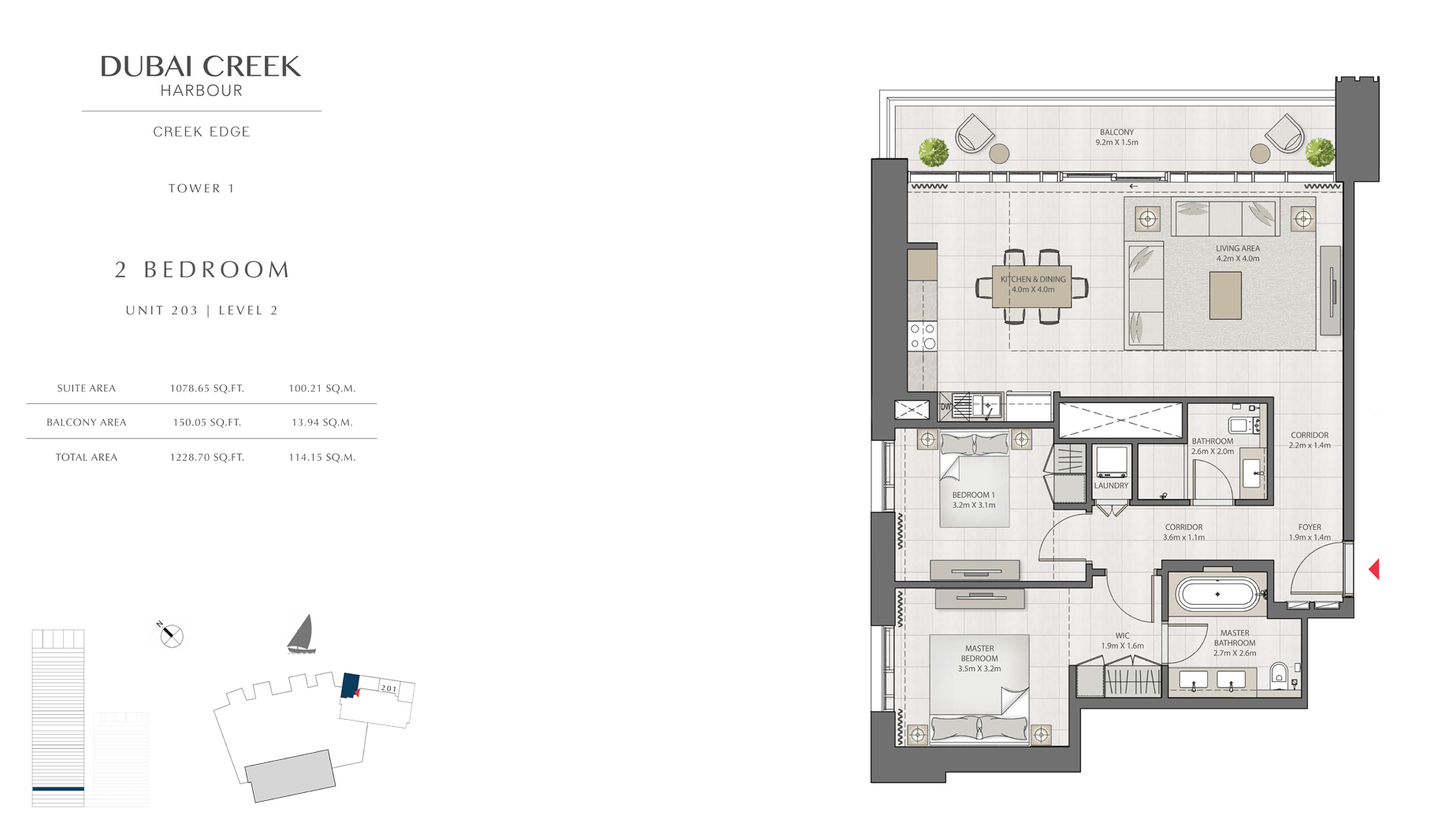 2 Bedroom Tower 1 Unit 203 Level 2 Size 1228 sq.ft
