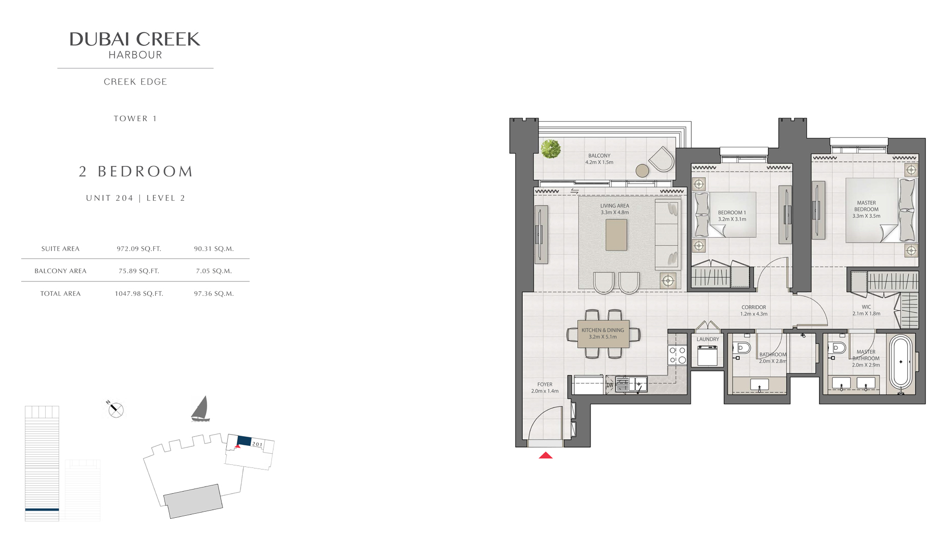 2 Bedroom Tower 1 Unit 204 Level 2 Size 1047 sq.ft