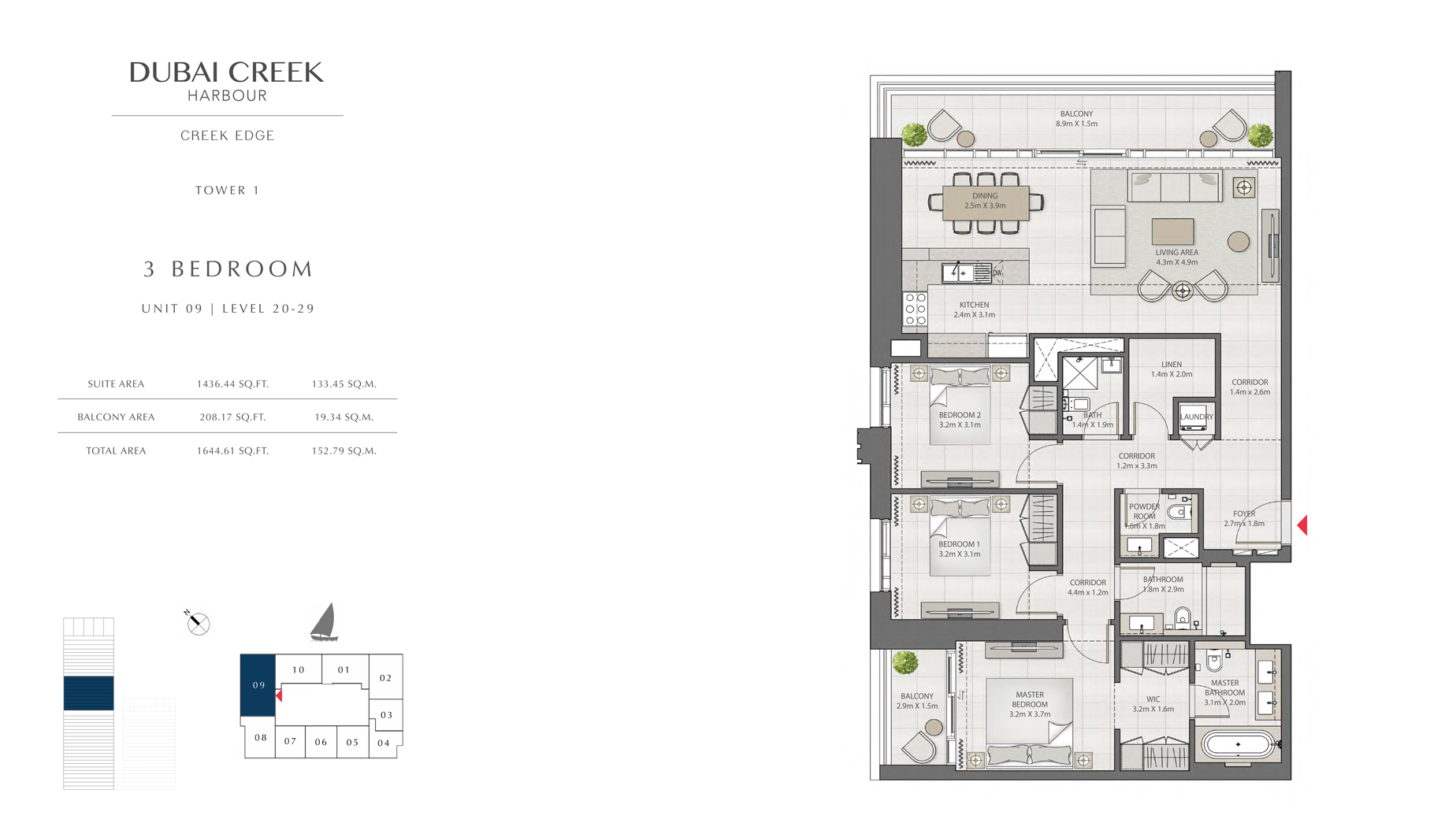 2 Bedroom Tower 1 Unit 09 Level 20-29 Size 1644 sq.ft