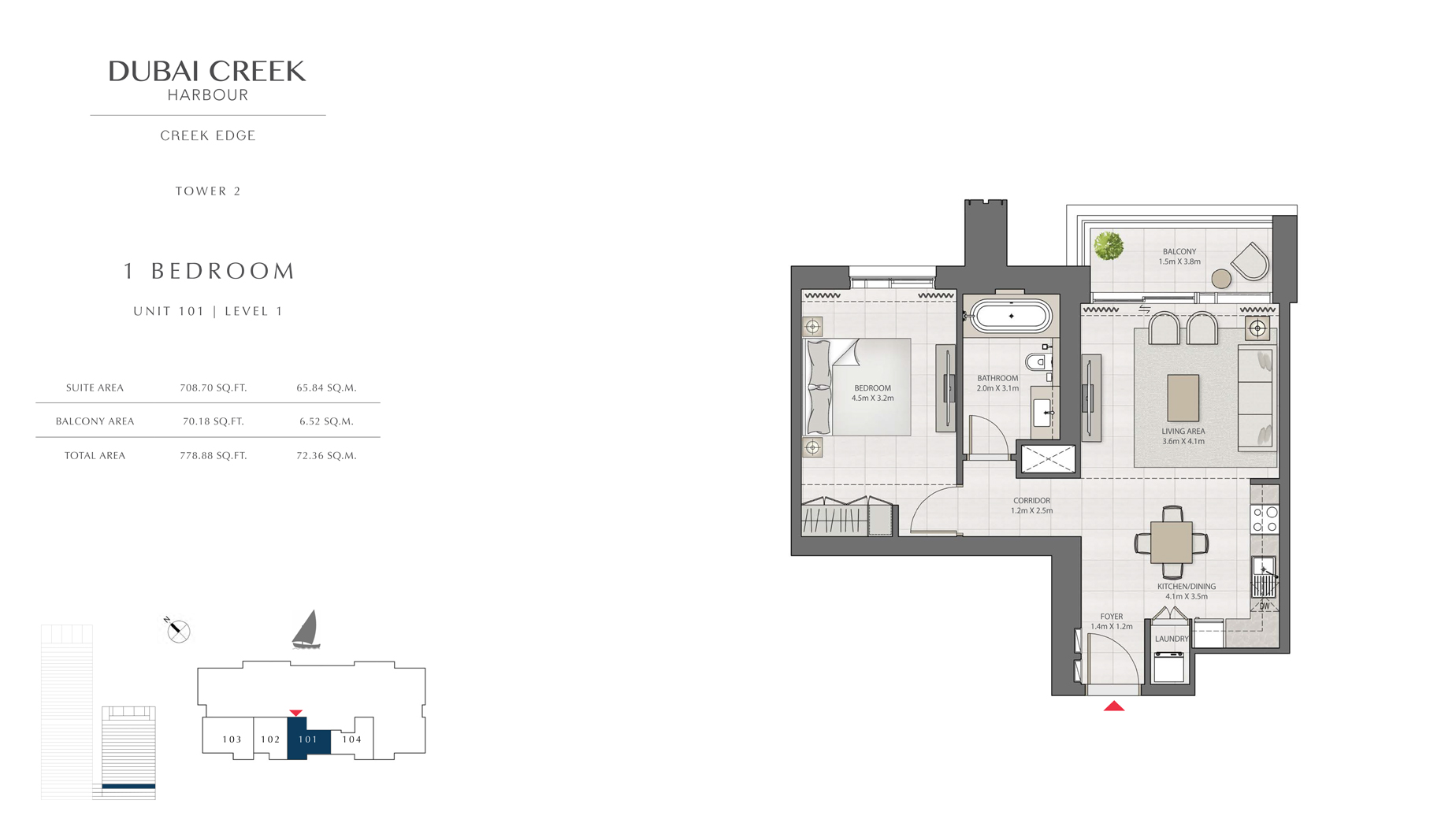 1 Bedroom Tower 2 Unit 101 Level 1 Size 778 sq.ft