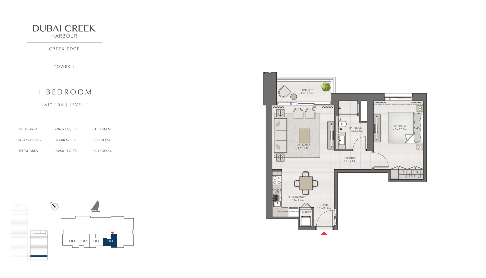 1 Bedroom Tower 2 Unit 104 Level 1 Size 759 sq.ft