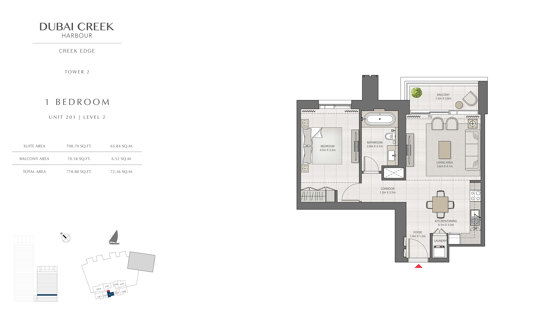 1 Bedroom Tower 2 Unit 201 Level 2 Size 778 sq.ft