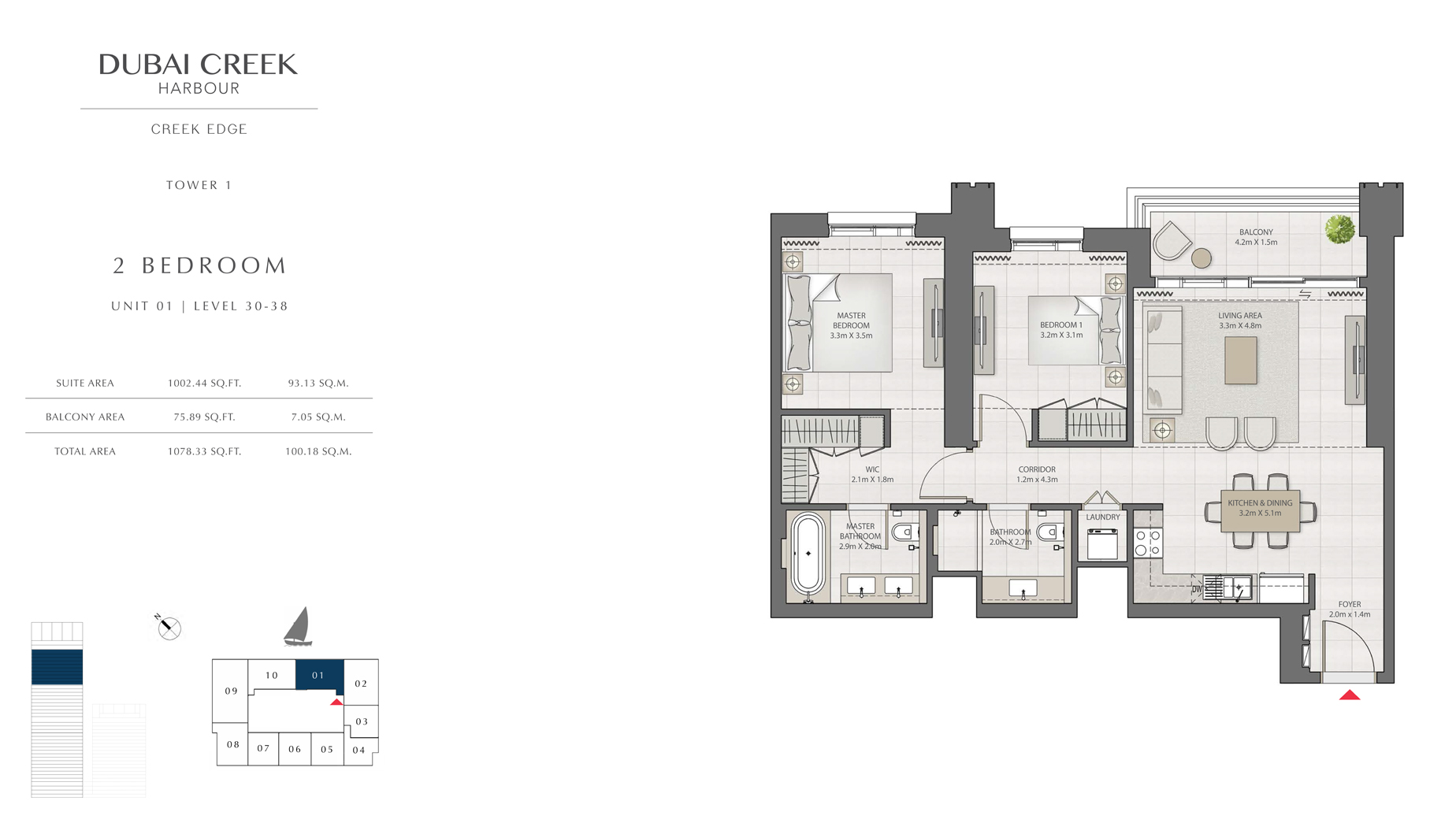 2 Bedroom Tower 1 Unit 1 Level 30-38 Size 1078 sq.ft