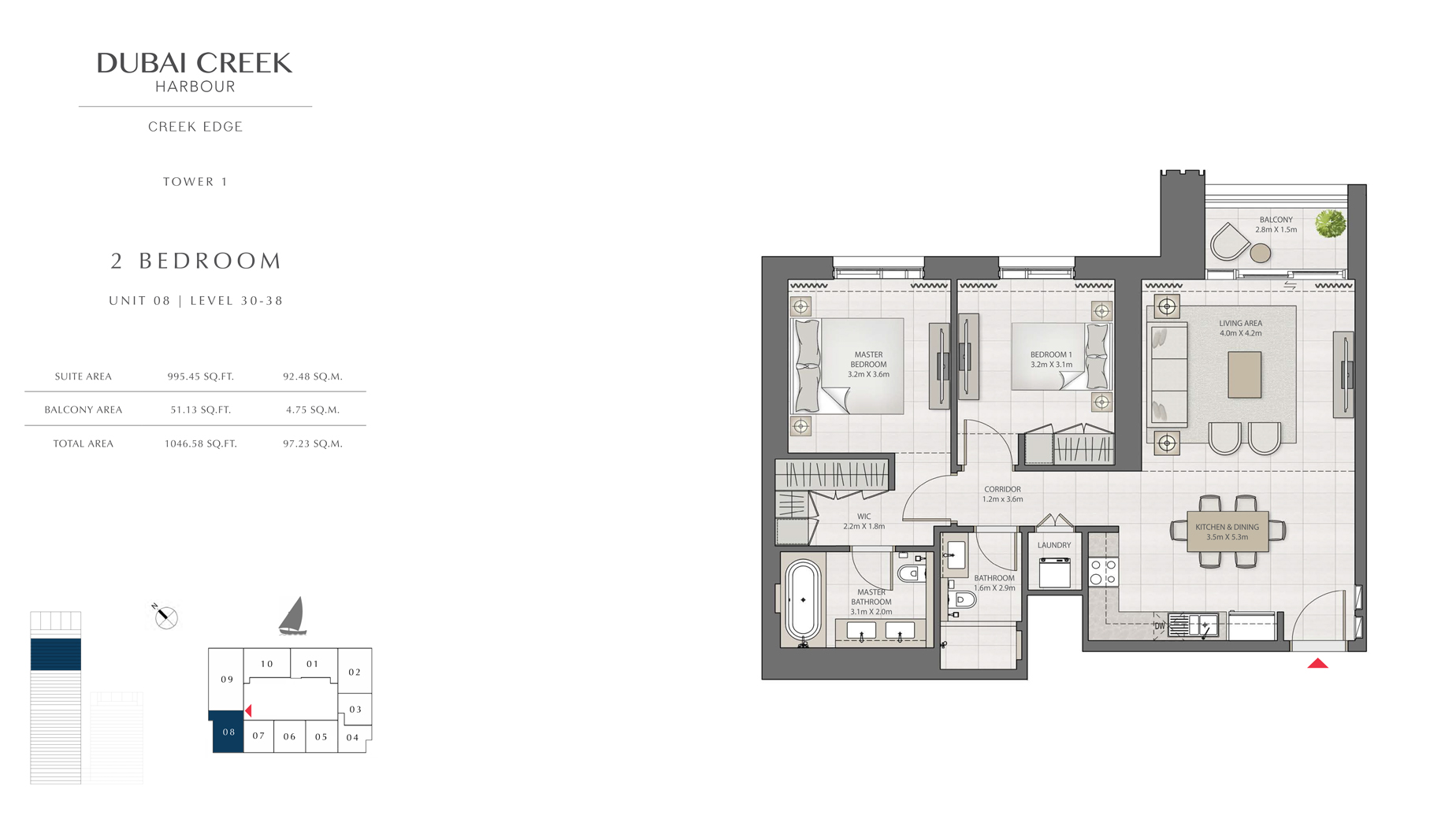 2 Bedroom Tower 1 Unit 08 Level 30-38 Size 1046 sq.ft