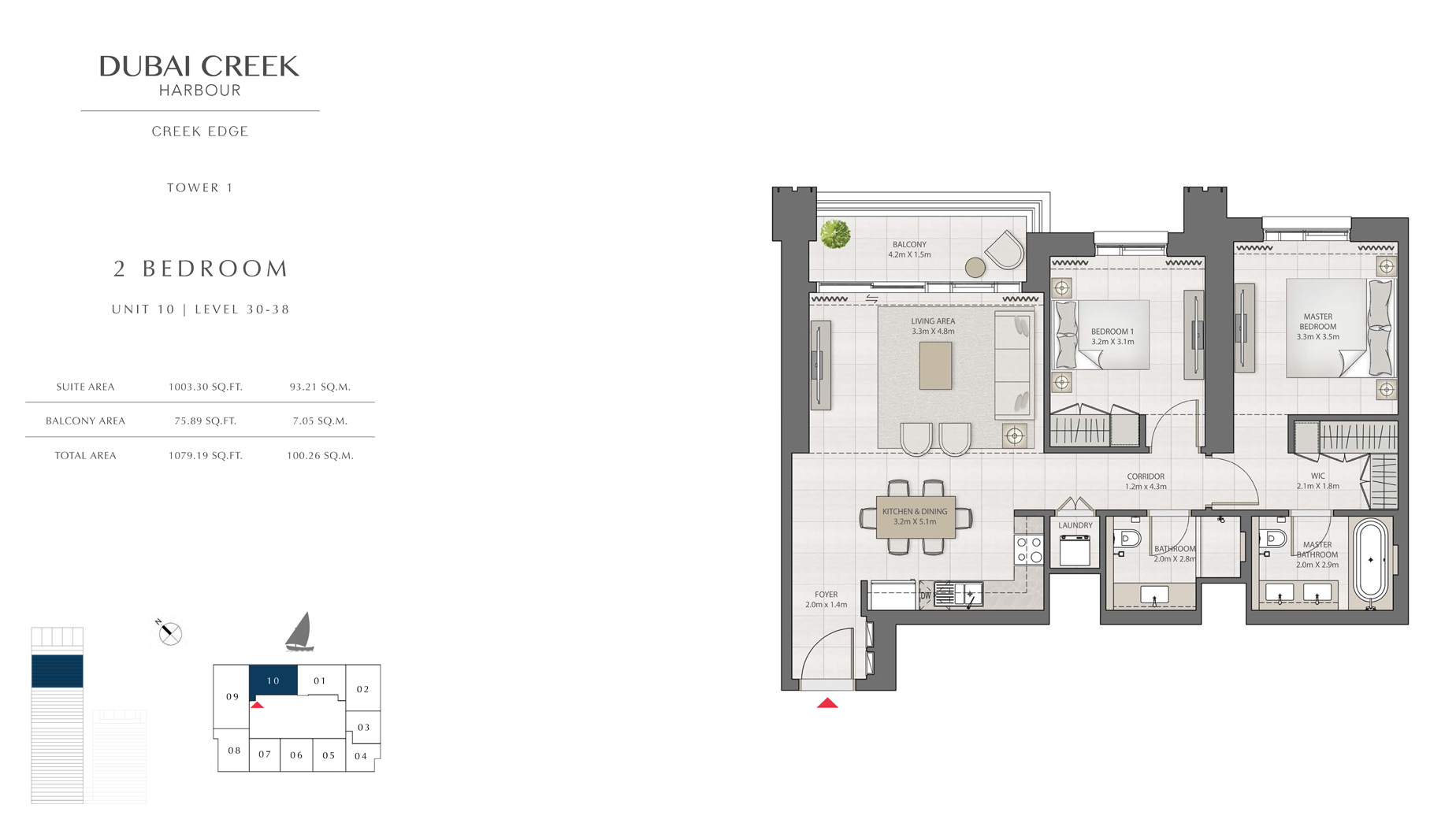 2 Bedroom Tower 1 Unit 10 Level 30-38 Size 1079 sq.ft