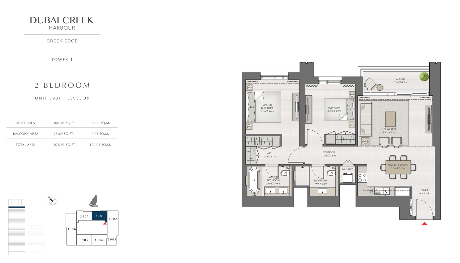 2 Bedroom Tower 1 Unit 3901 Level 39 Size 1076 sq.ft