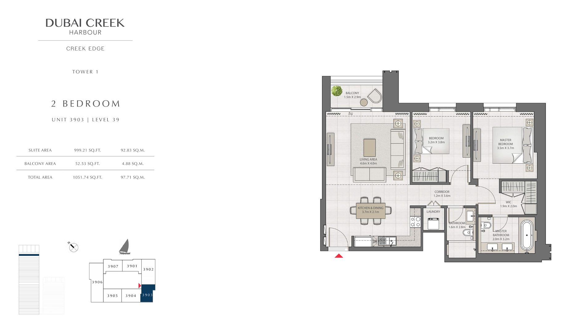 2 Bedroom Tower 1 Unit 3903 Level 39 Size 1051 sq.ft