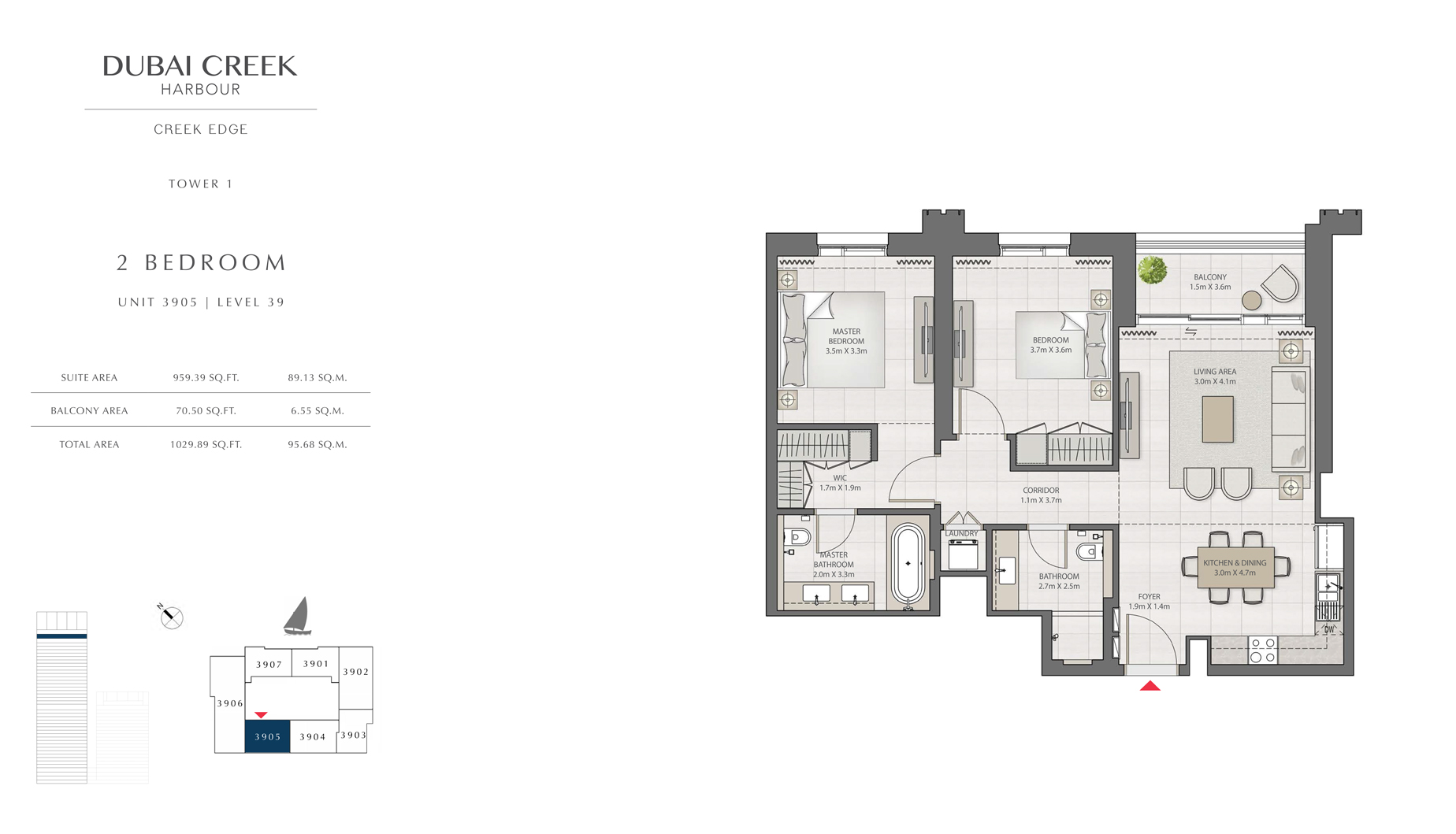 2 Bedroom Tower 1 Unit 3905 Level 39 Size 1029 sq.ft