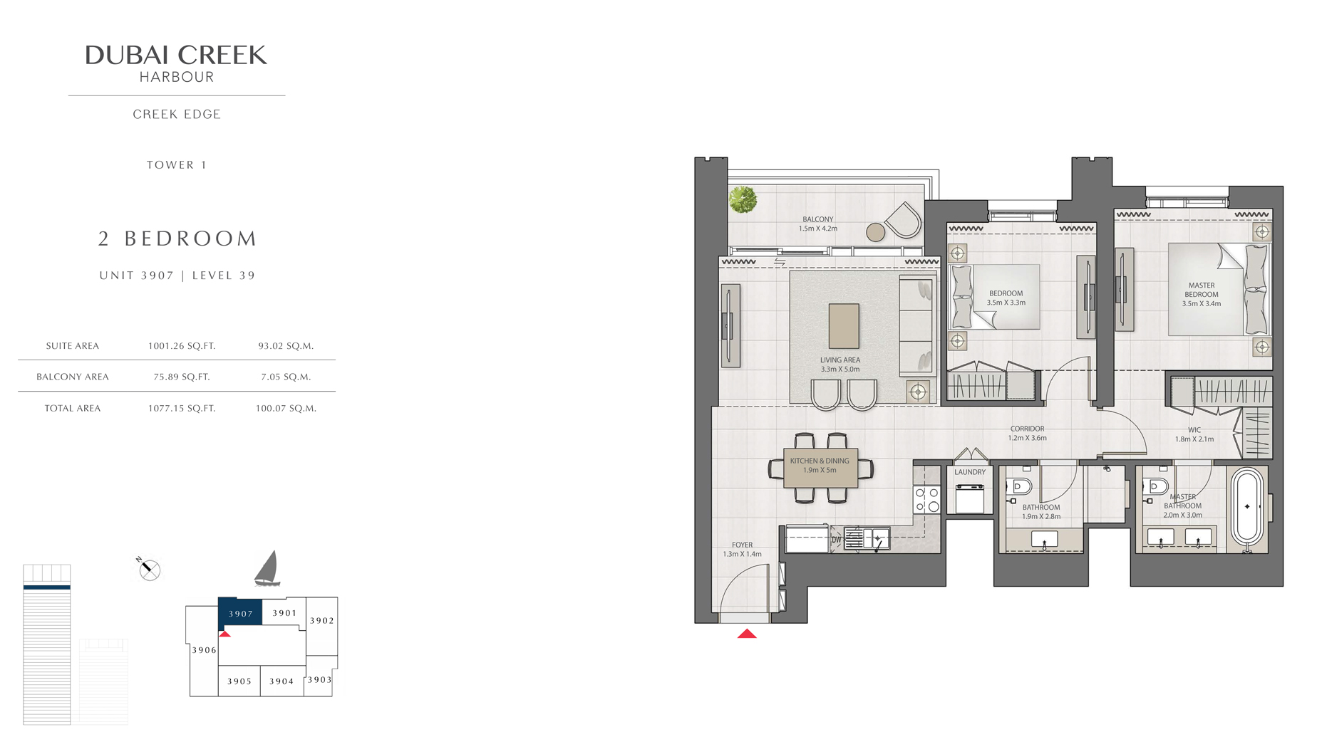 2 Bedroom Tower 1 Unit 3907 Level 39 Size 1077 sq.ft