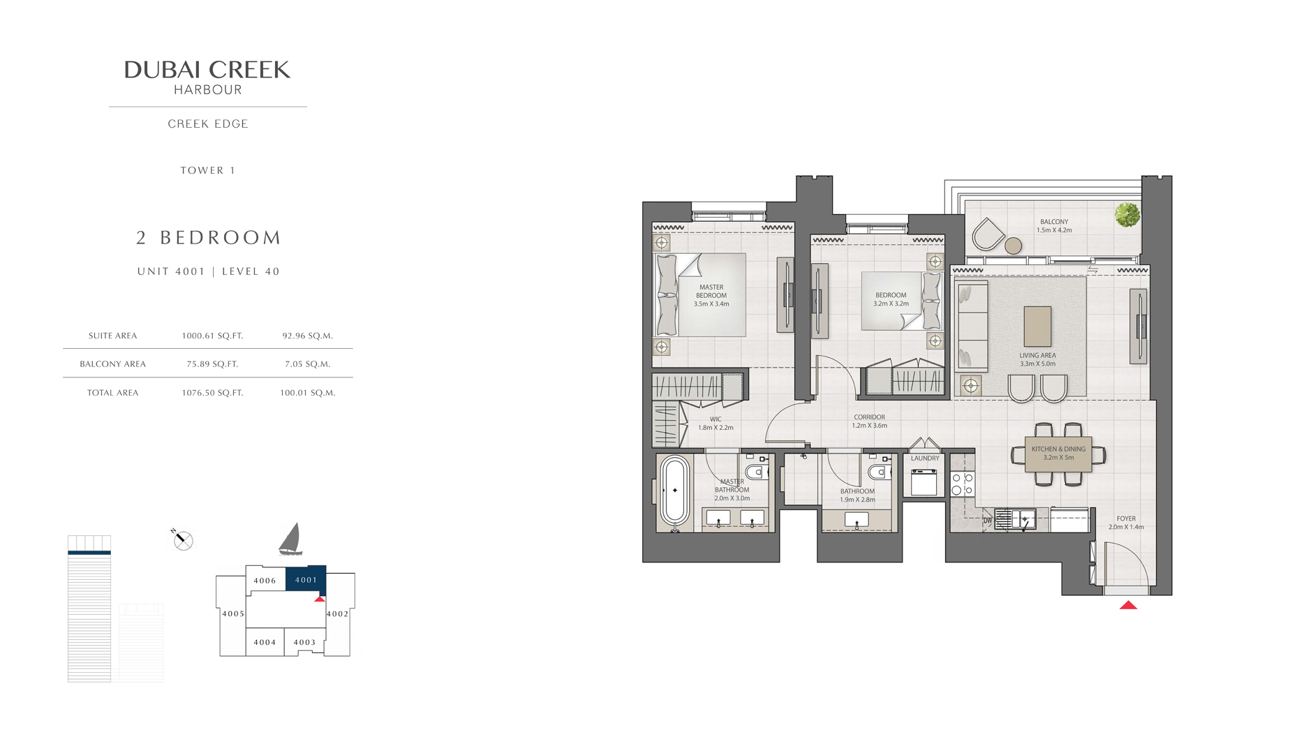 2 Bedroom Tower 1 Unit 4001 Level 40 Size 1076 sq.ft