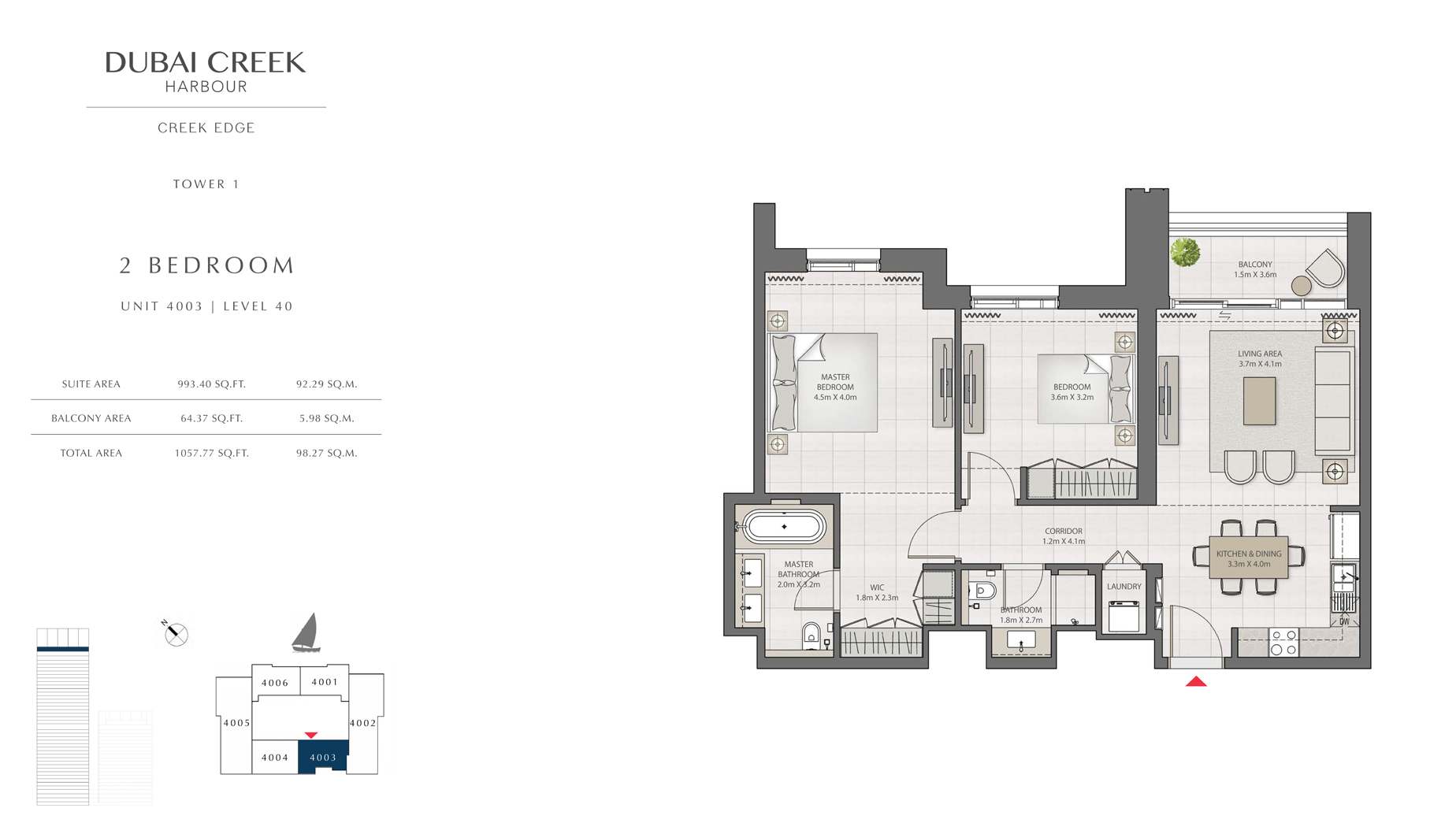 2 Bedroom Tower 1 Unit 4003 Level 40 Size 1057 sq.ft
