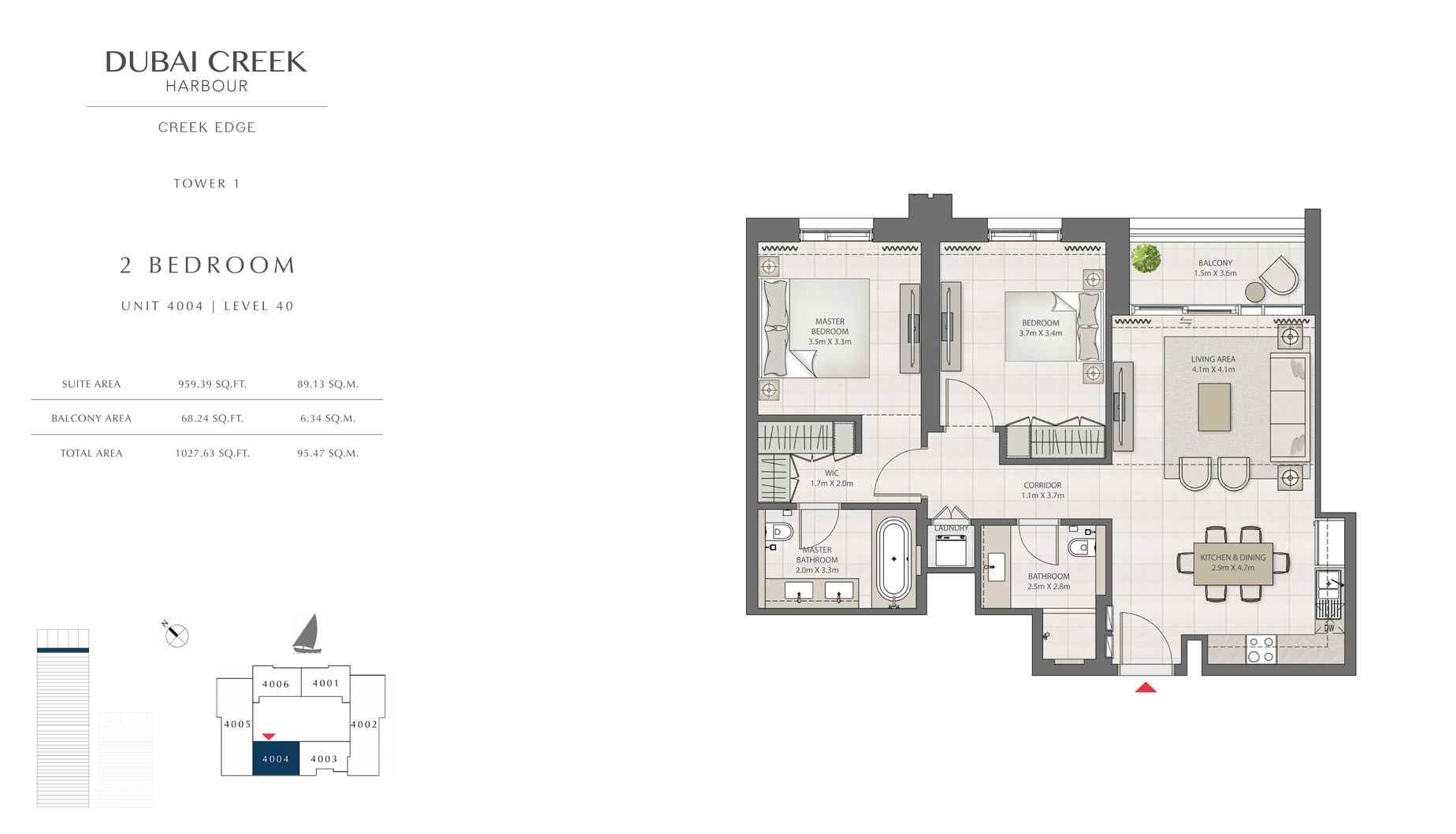2 Bedroom Tower 1 Unit 4004 Level 40 Size 1027 sq.ft