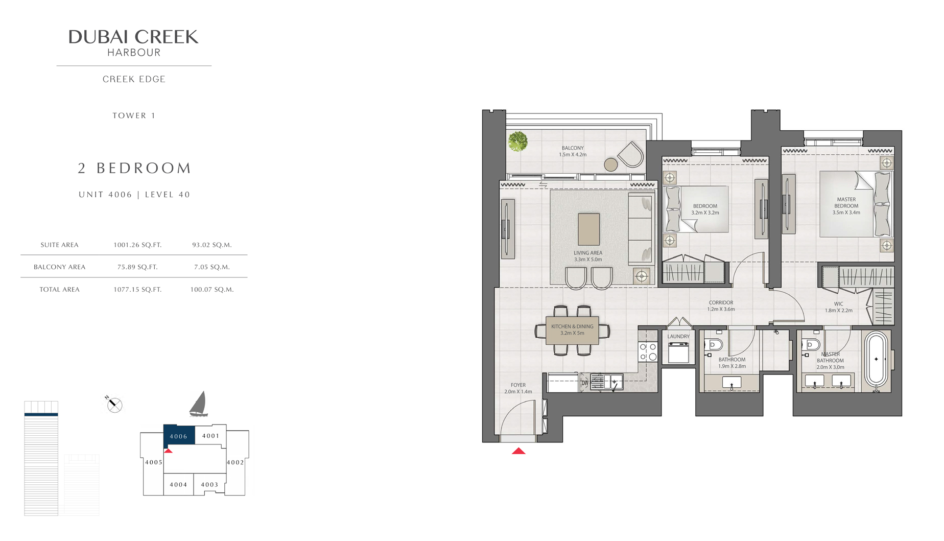 2 Bedroom Tower 1 Unit 4006 Level 40 Size 1077 sq.ft