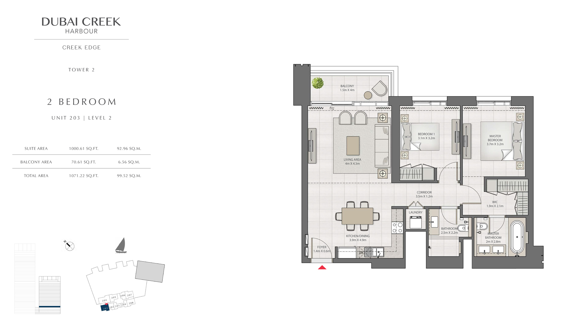 2 Bedroom Tower 1 Unit 203 Level 2 Size 1071 sq.ft