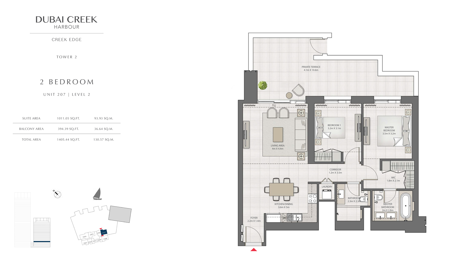 2 Bedroom Tower 2 Unit 207 Level 2 Size 1405 sq.ft