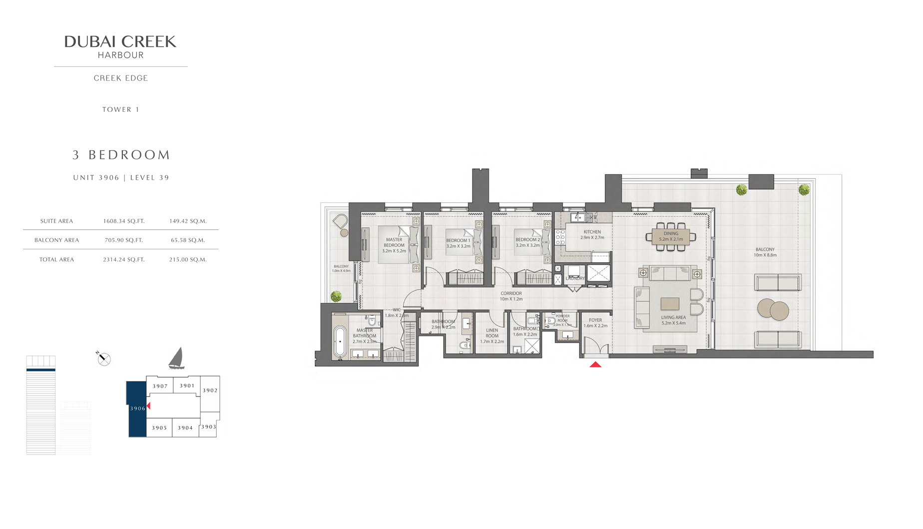 3 Bedroom Tower 1 Unit 3906 Level 39 Size 2314 sq.ft