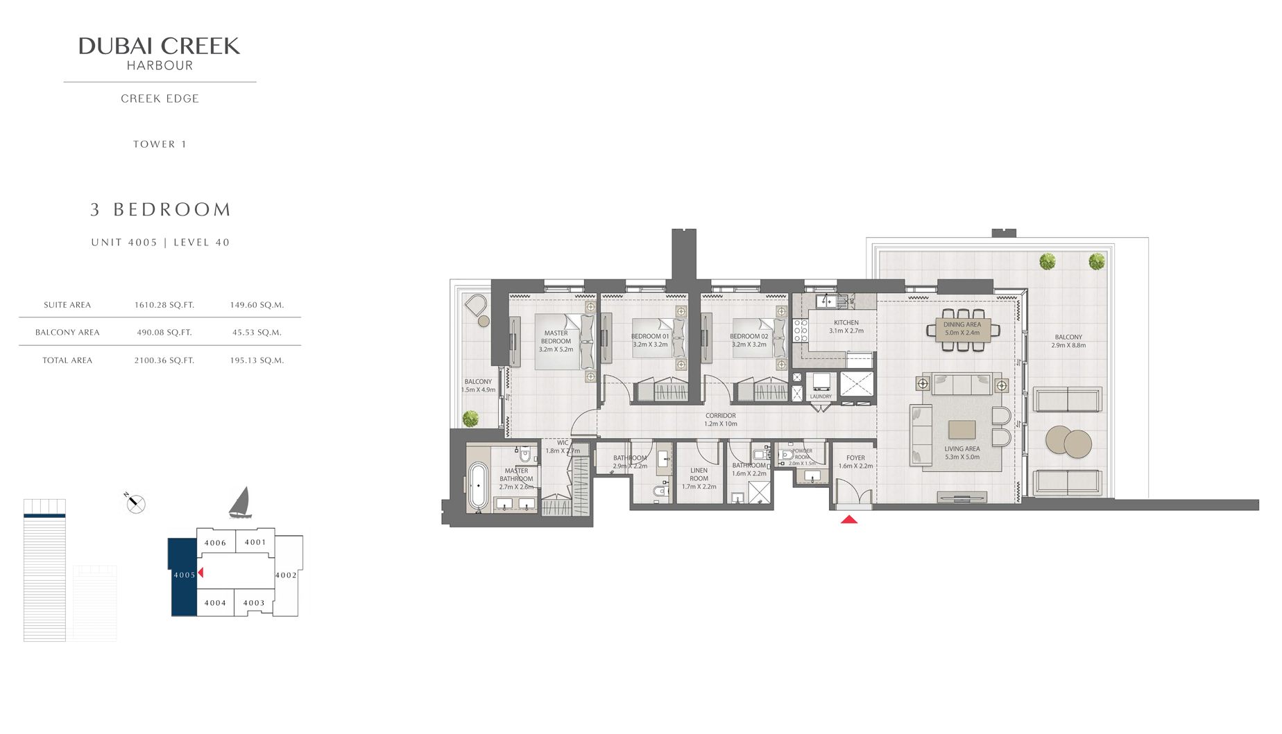 3 Bedroom Tower 1 Unit 4005 Level 40 Size 2100 sq.ft
