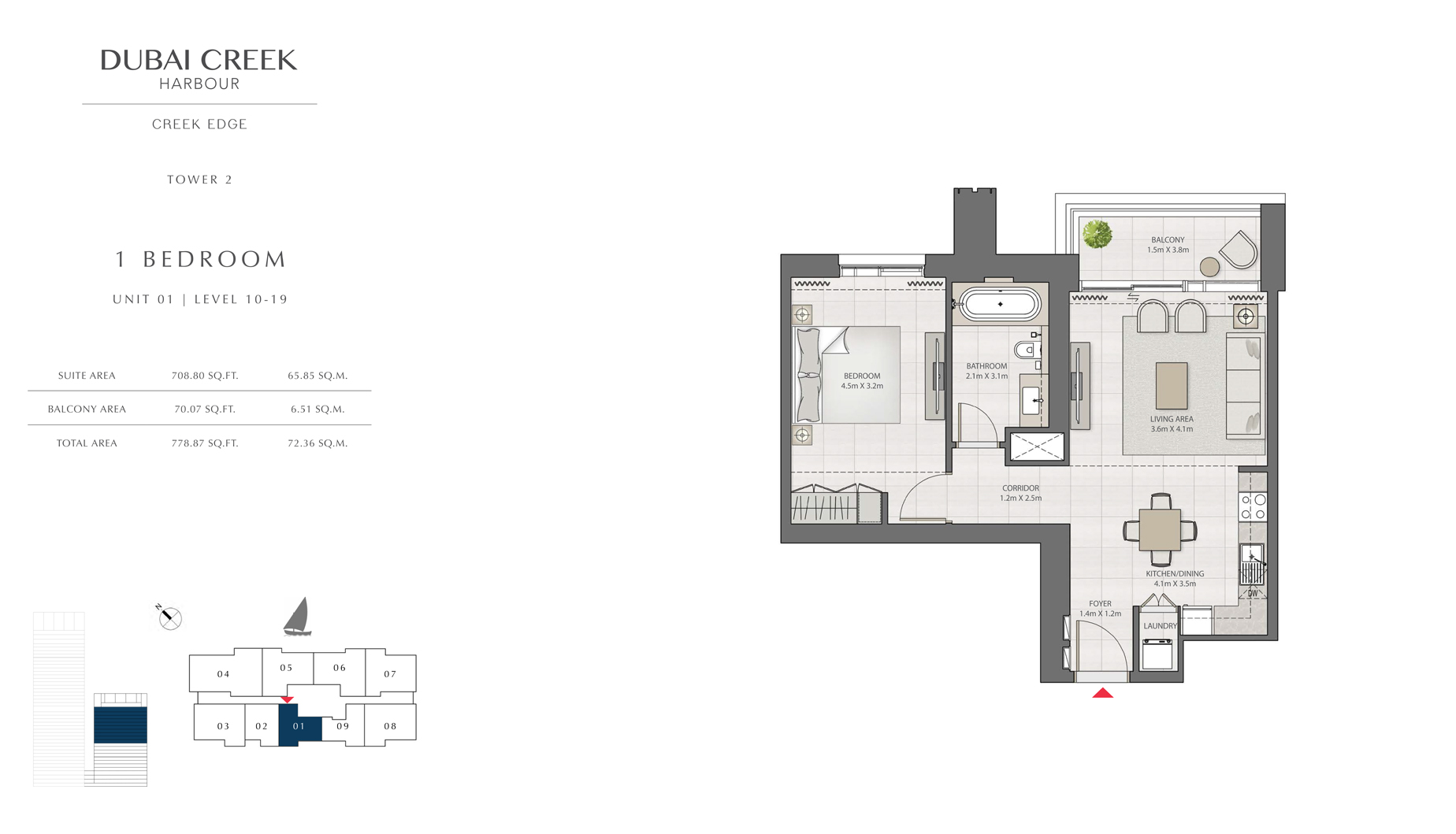 1 Bedroom Tower 2 Unit 01 Level 10-19 Size 778 sq.ft