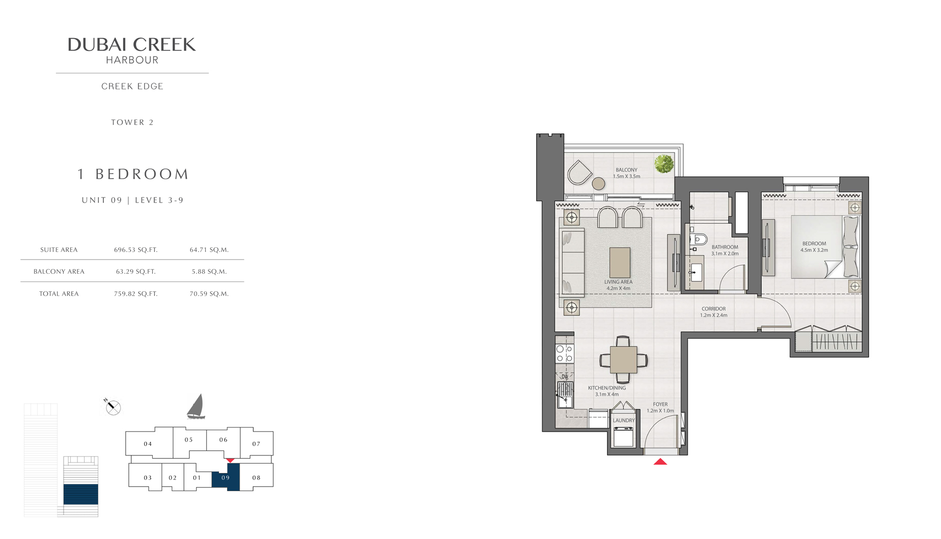 1 Bedroom Tower 2 Unit 09 Level 3-9 Size 759 sq.ft