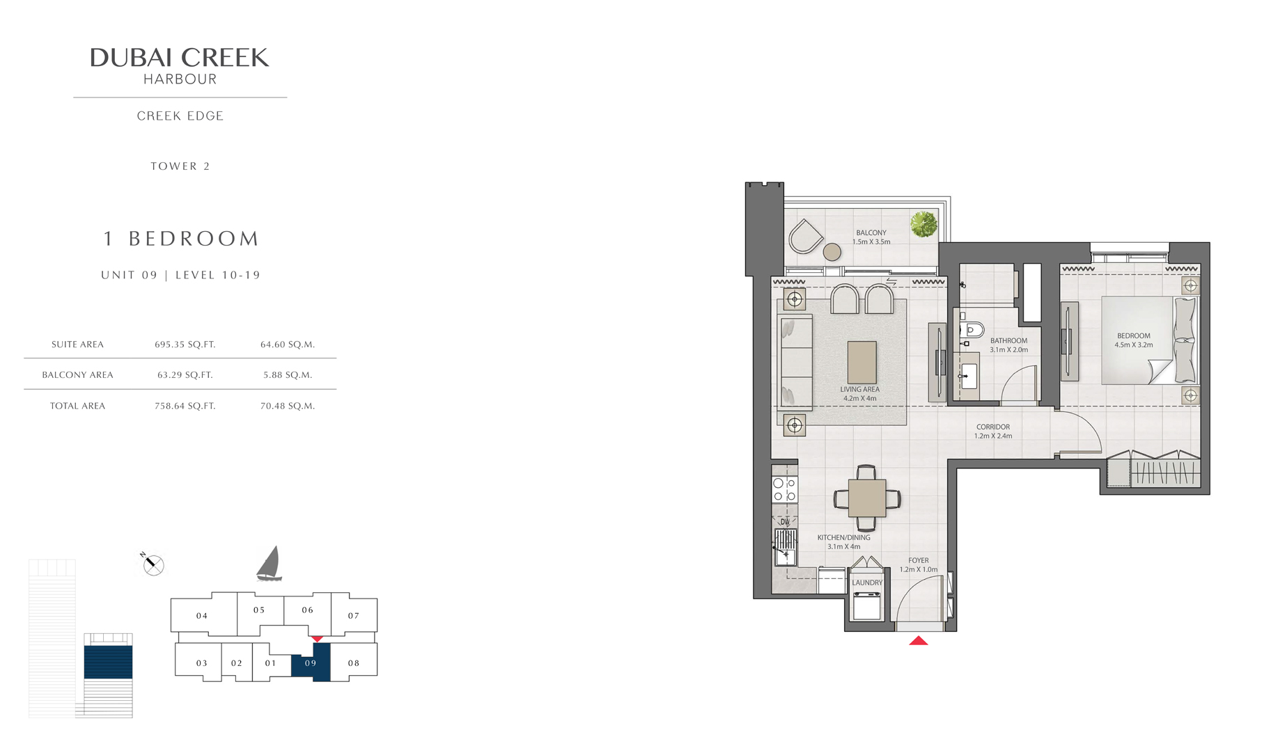 1 Bedroom Tower 2 Unit 09 Level 10-19 Size 758 sq.ft
