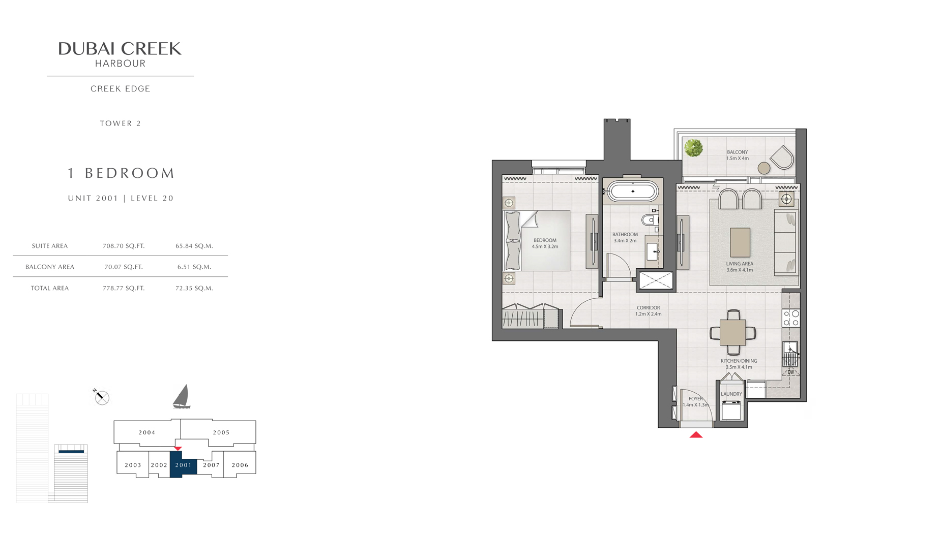 1 Bedroom Tower 2 Unit 2001 Level 20 Size 778 sq.ft