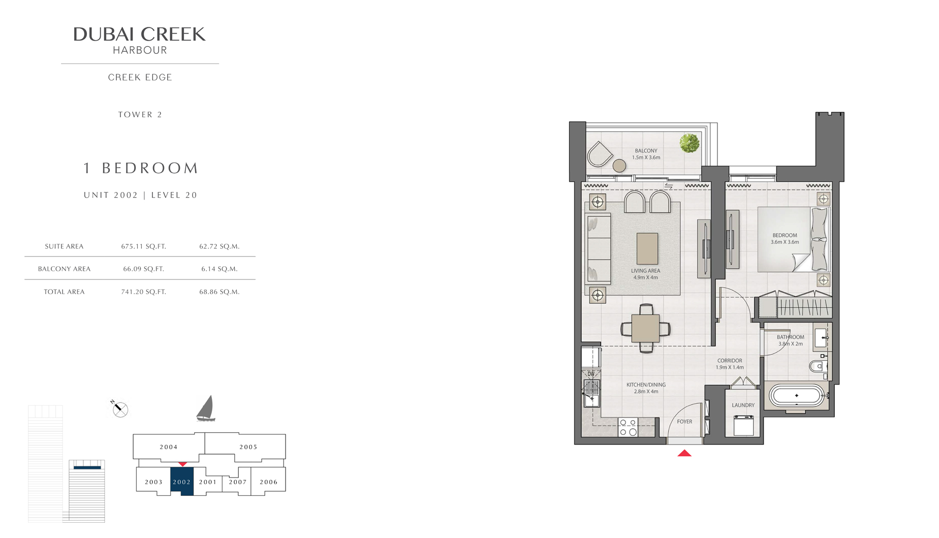 1 Bedroom Tower 2 Unit 2002 Level 20 Size 741 sq.ft