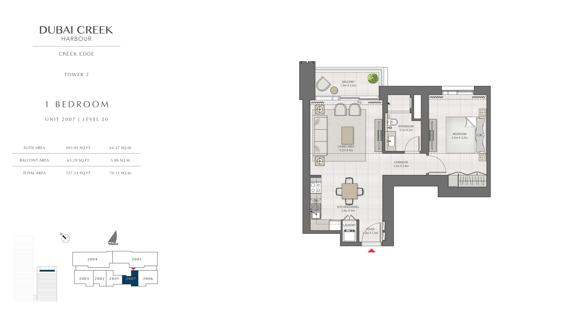 1 Bedroom Tower 2 Unit 2007 Level 20 Size 757 sq.ft