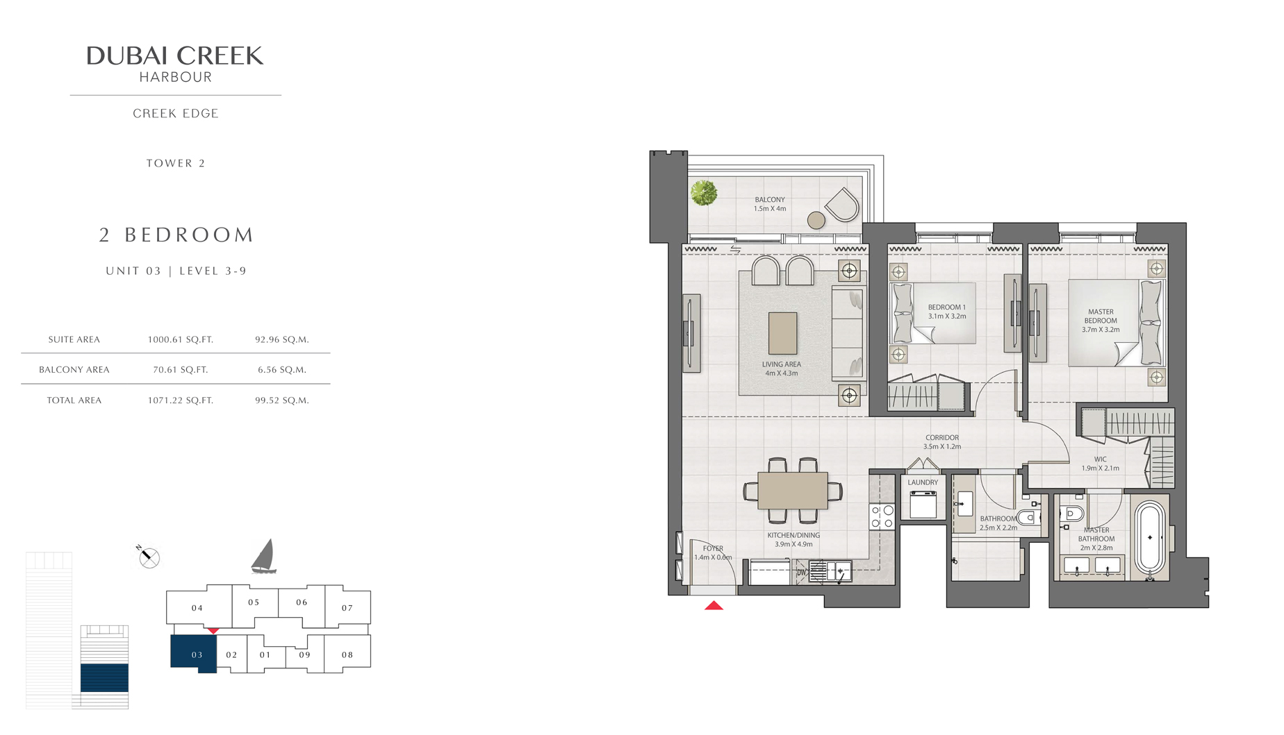 2 Bedroom Tower 2 Unit 03 Level 3-9 Size 1071 sq.ft