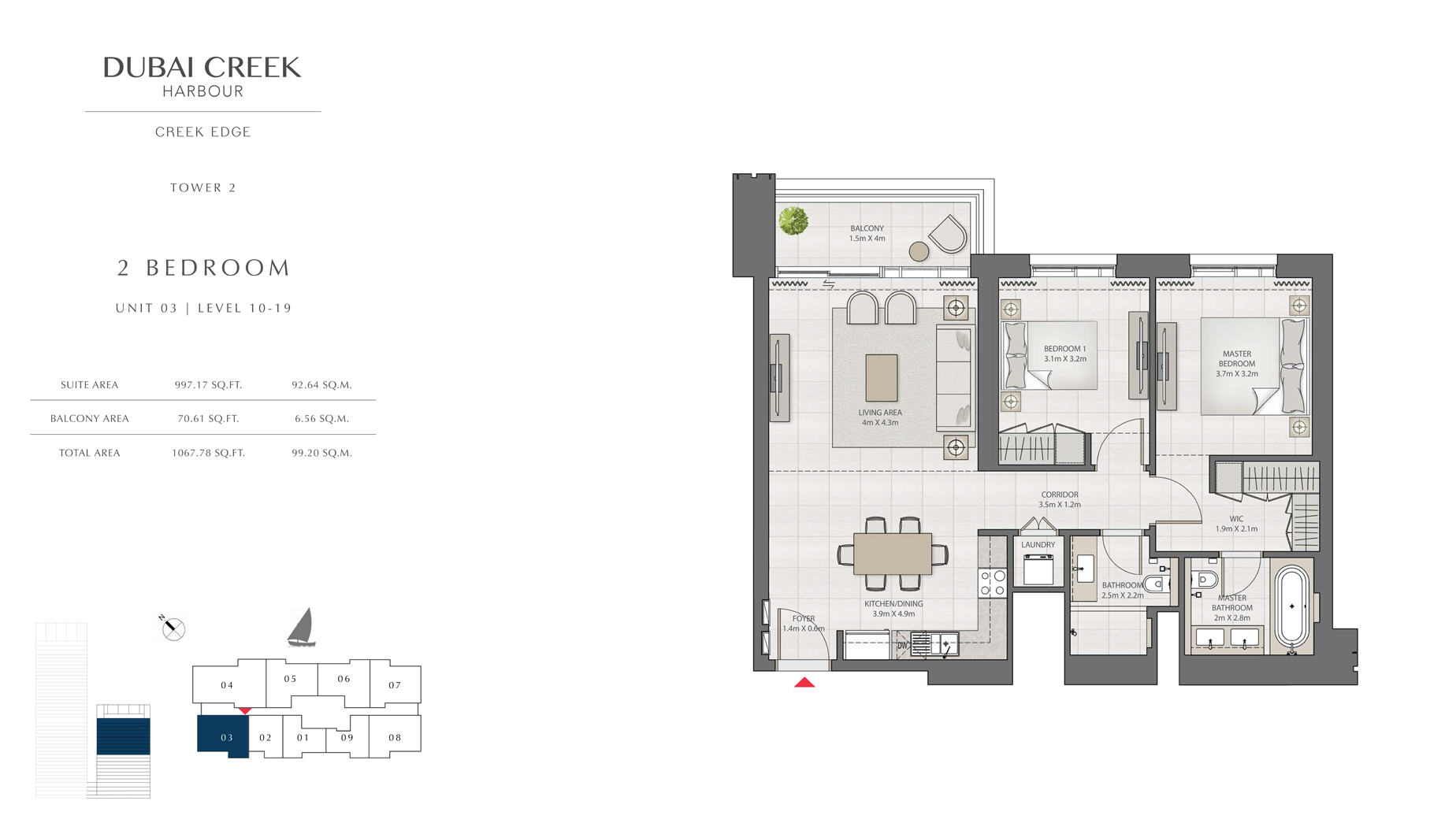 2 Bedroom Tower 2 Unit 3 Level 10-19 Size 1067 sq.ft