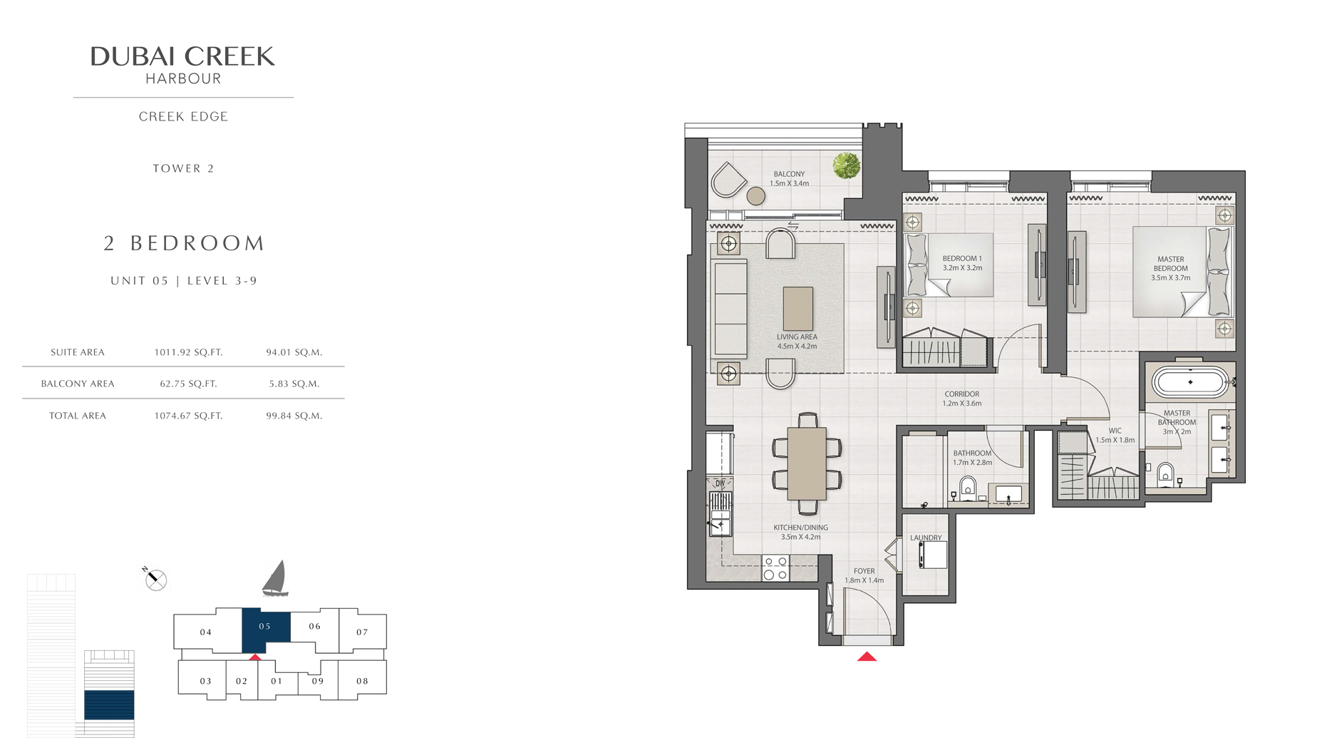 2 Bedroom Tower 2 Unit 5 Level 3-9 Size 1074 sq.ft