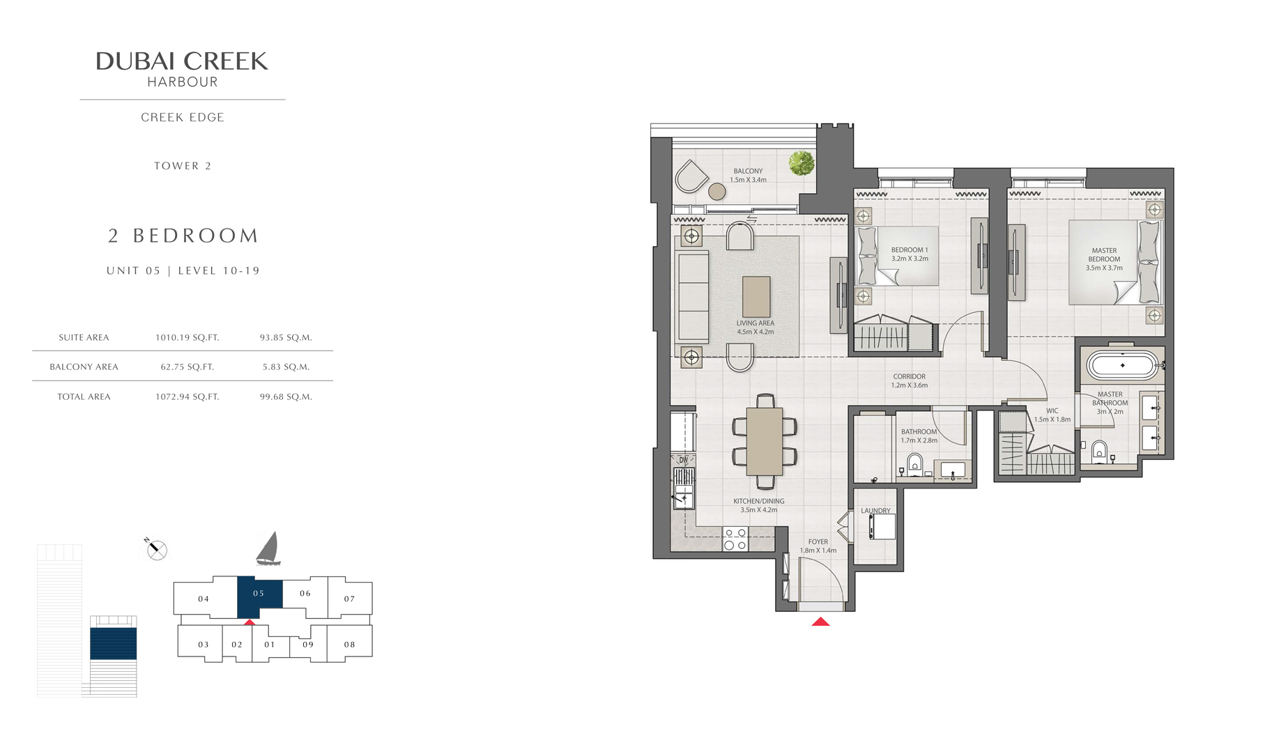 2 Bedroom Tower 2 Unit 05 Level 10-19 Size 1072 sq.ft