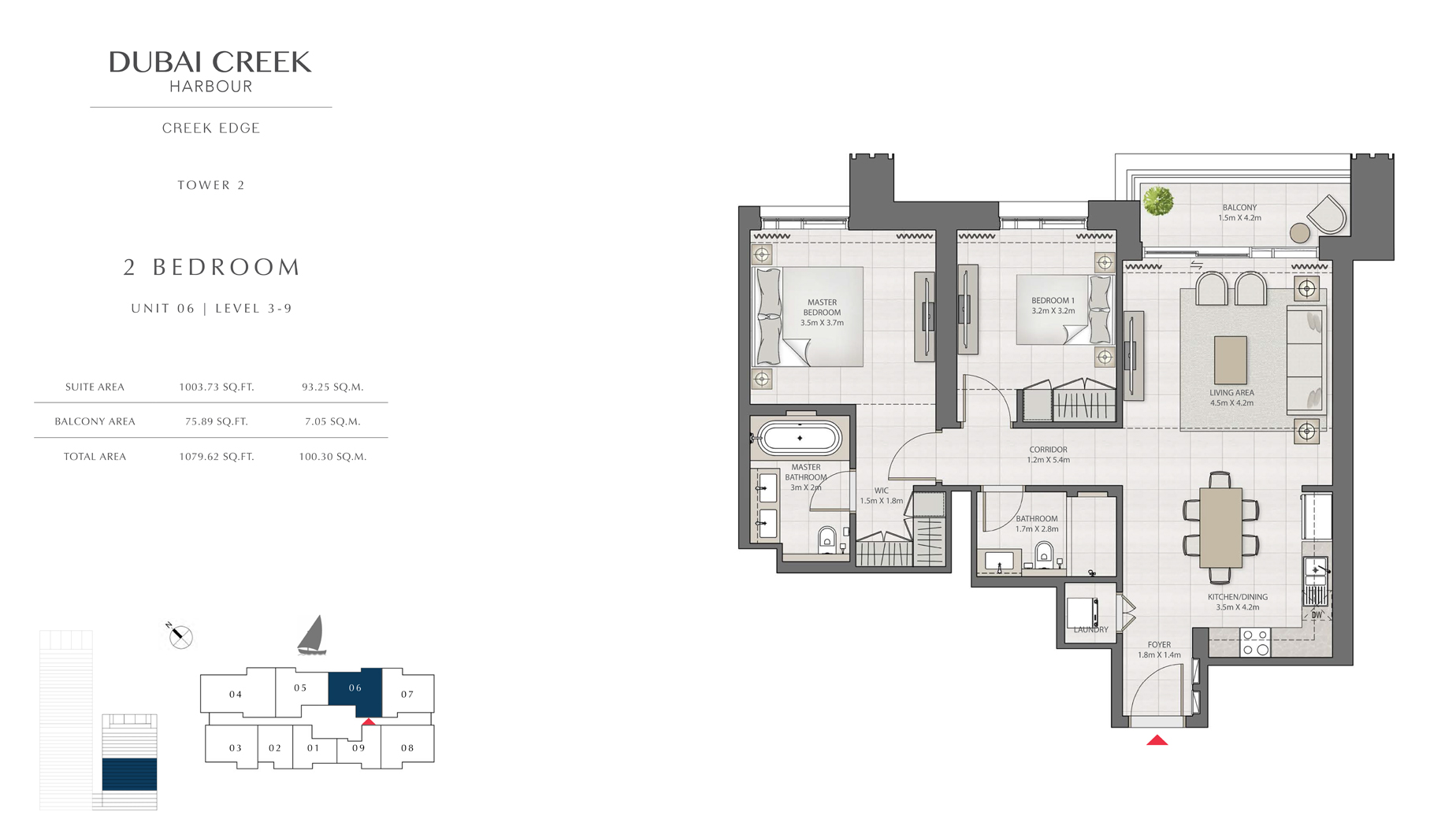 2 Bedroom Tower 2 Unit 06 Level 3-9 Size 1079 sq.ft