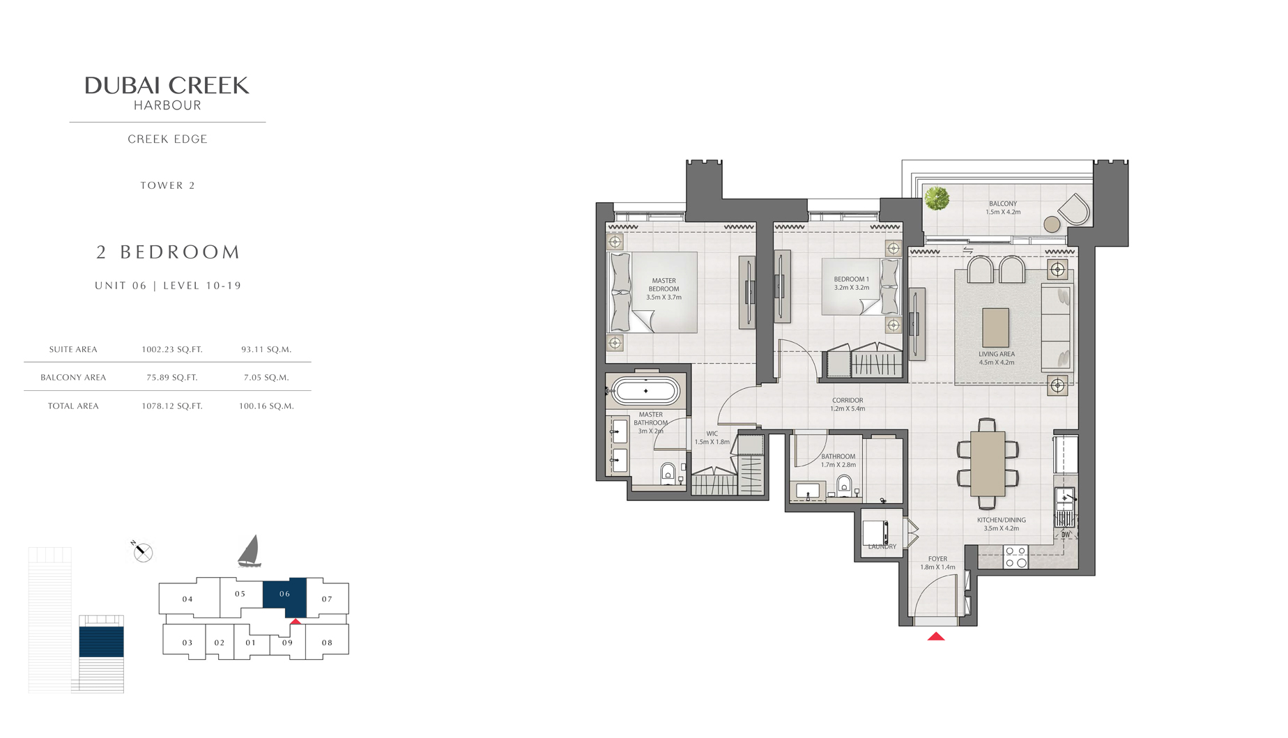 2 Bedroom Tower 2 Unit 06 Level 10-19 Size 1078 sq.ft