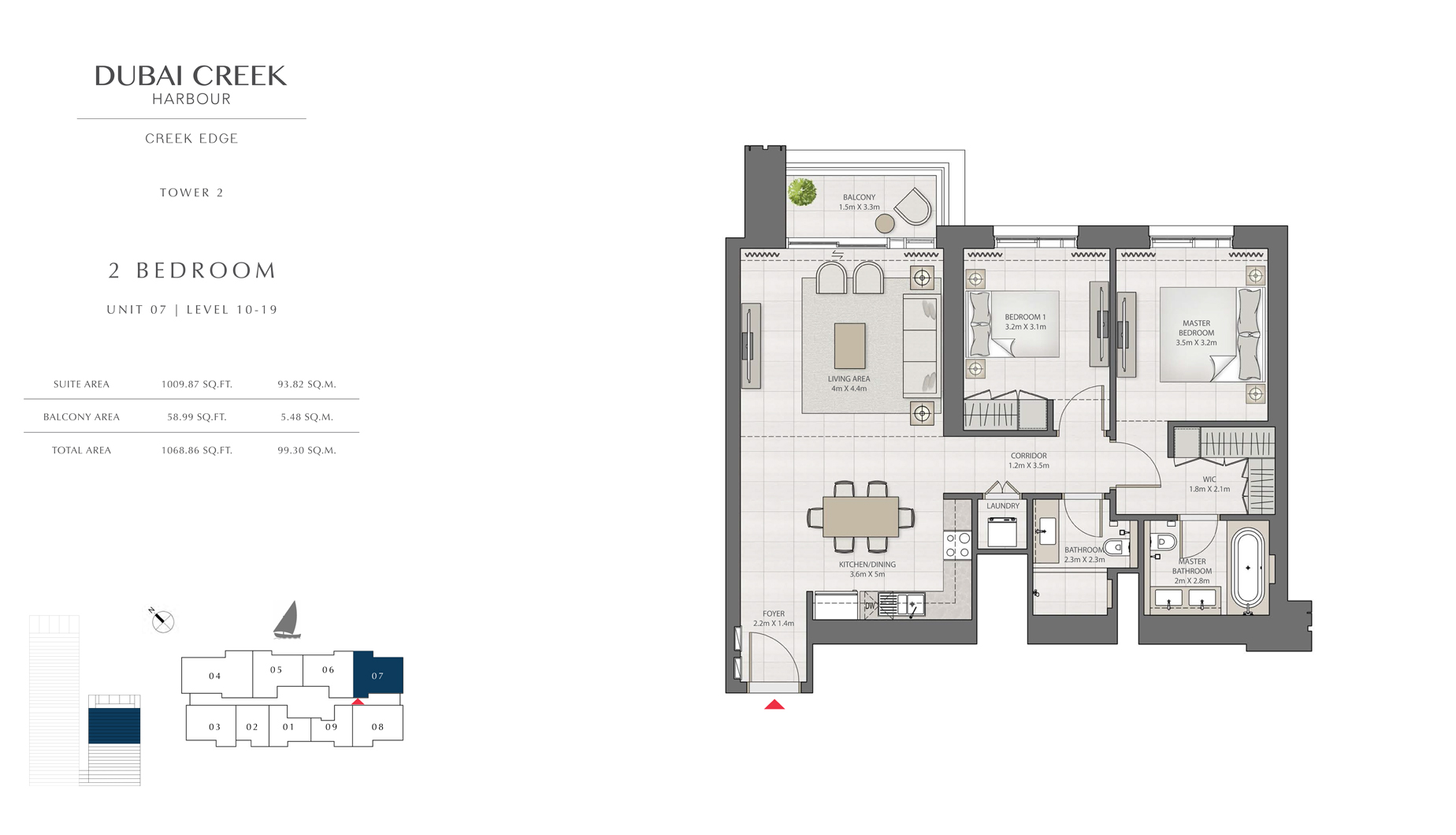 2 Bedroom Tower 2 Unit 07 Level 10-19 Size 1068 sq.ft