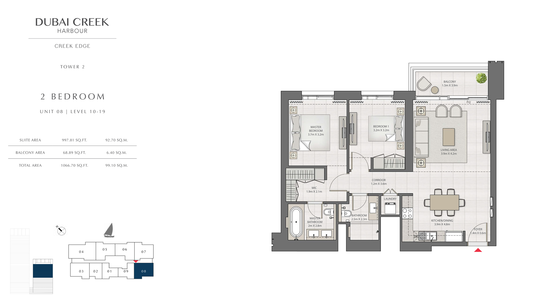 2 Bedroom Tower 2 Unit 08 Level 10-19 Size 1066 sq.ft
