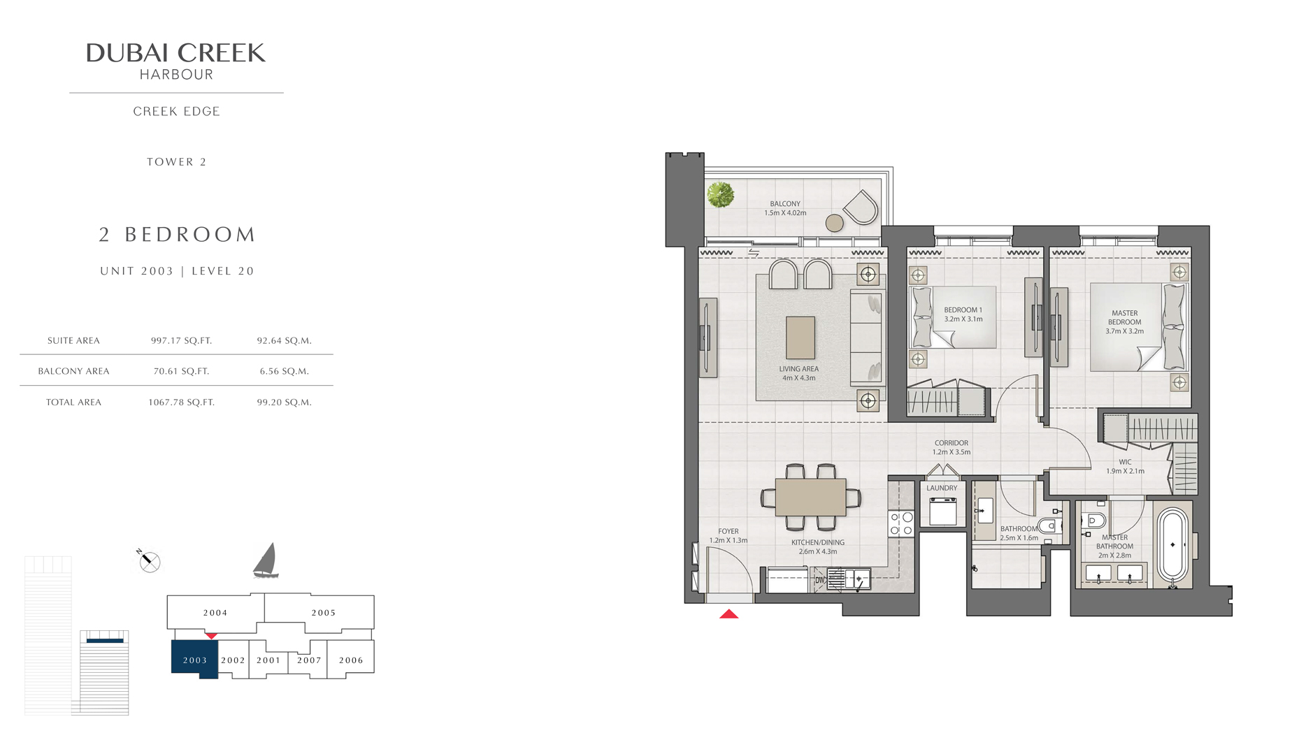 2 Bedroom Tower 2 Unit 2003 Level 20 Size 1067 sq.ft