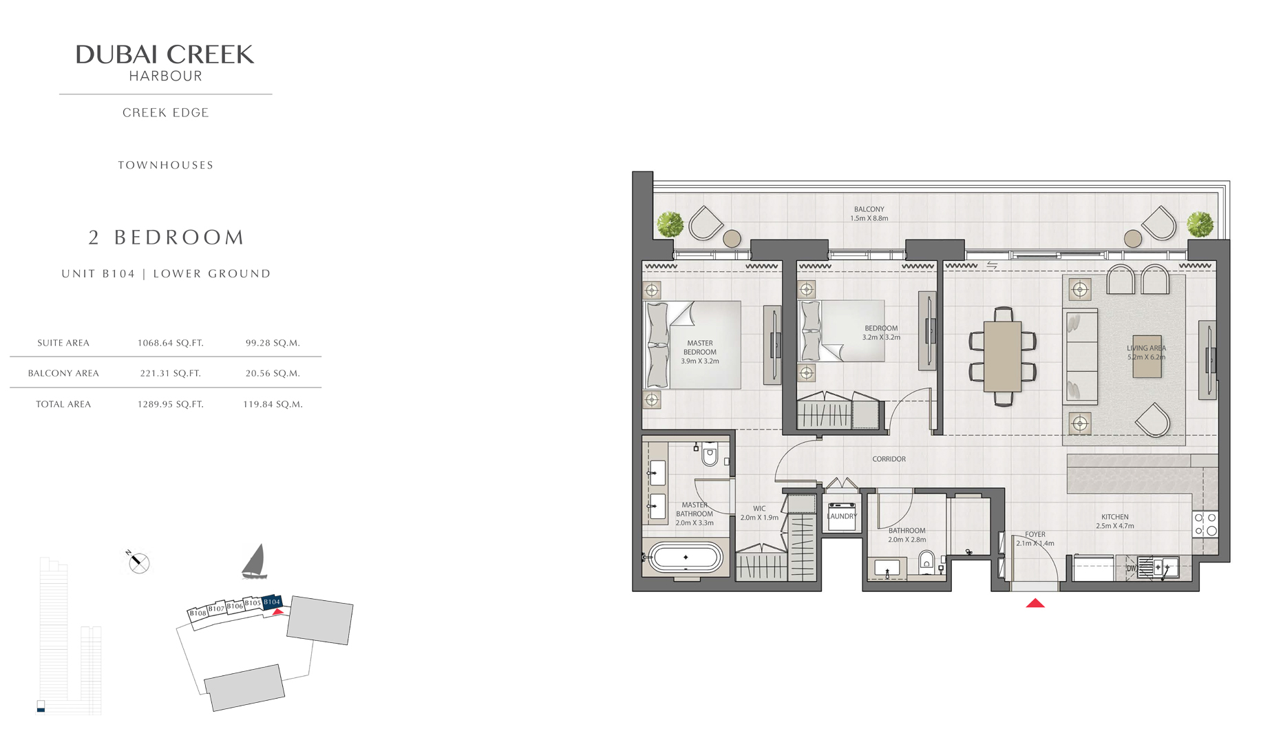 2 Bedroom Townhouses Unit B104 Level G Size 1289 sq.ft