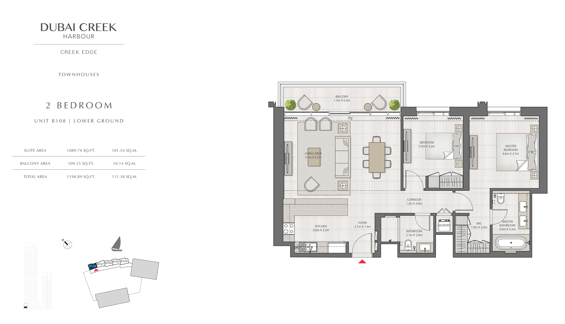 2 Bedroom Townhouses Unit B108 Level G Size 1198 sq.ft