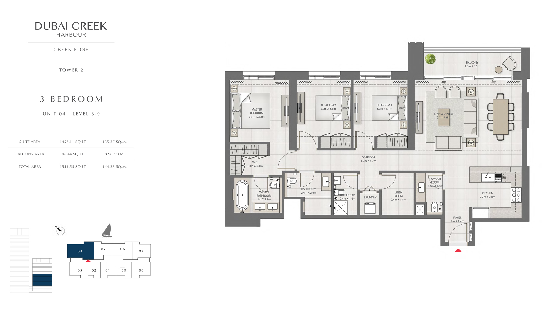 3 Bedroom Tower 2 Unit 04 Level 3-9 Size 1553 sq.ft