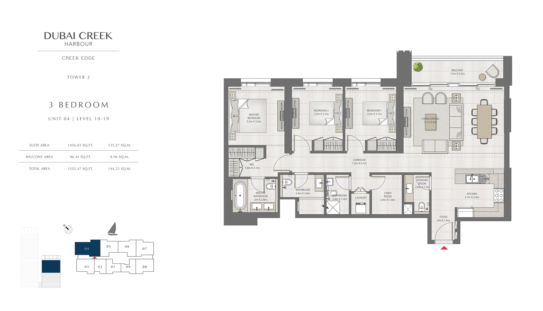 3 Bedroom Tower 2 Unit 04 Level 10-19 Size 1552 sq.ft
